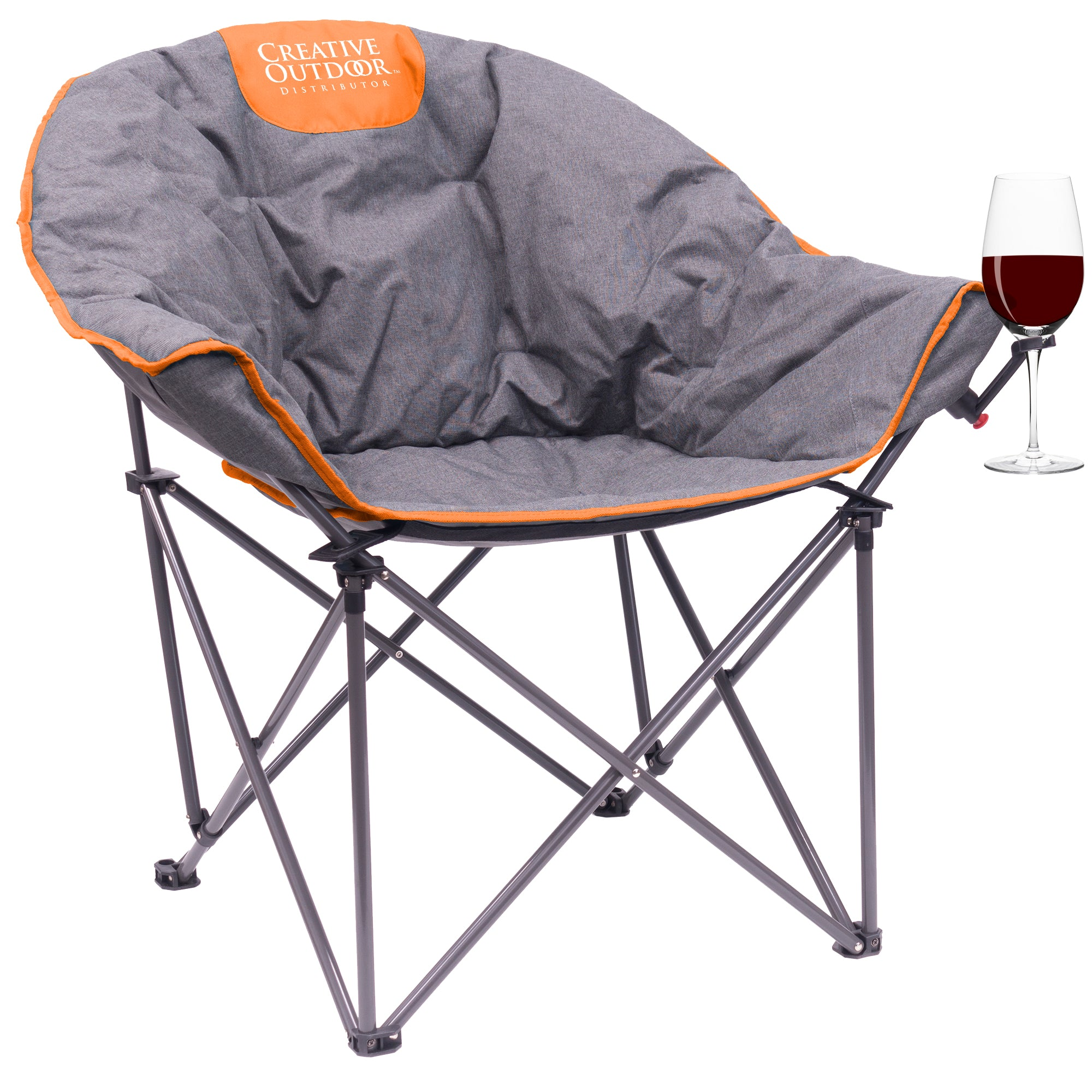 Padded Luxury Folding Wine Chair - Orange/Gray