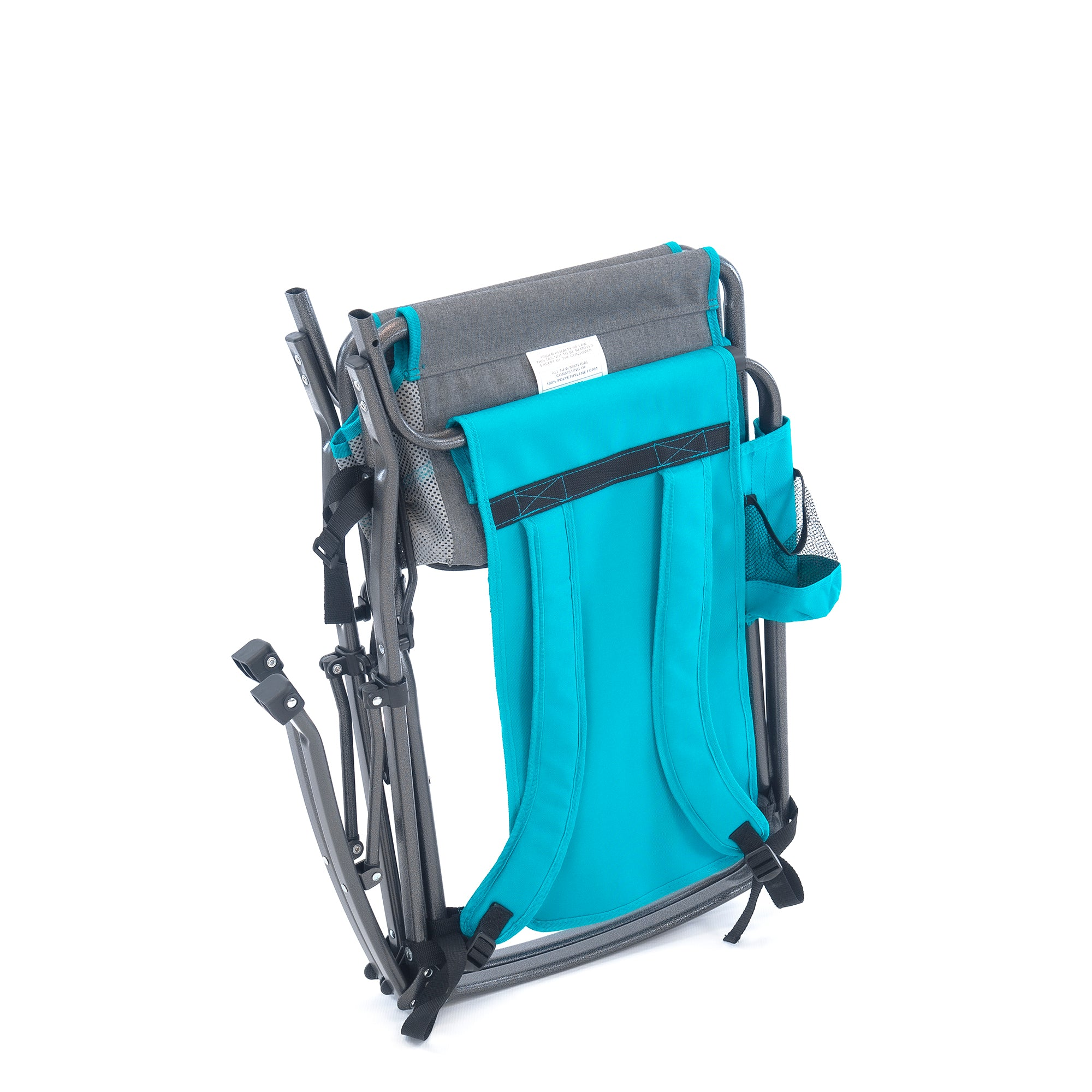 Rocking Folding Director Chair Gray Teal Backpack Straps Cup Holder Magazine Pocket Detachable Cooler Mesh Back