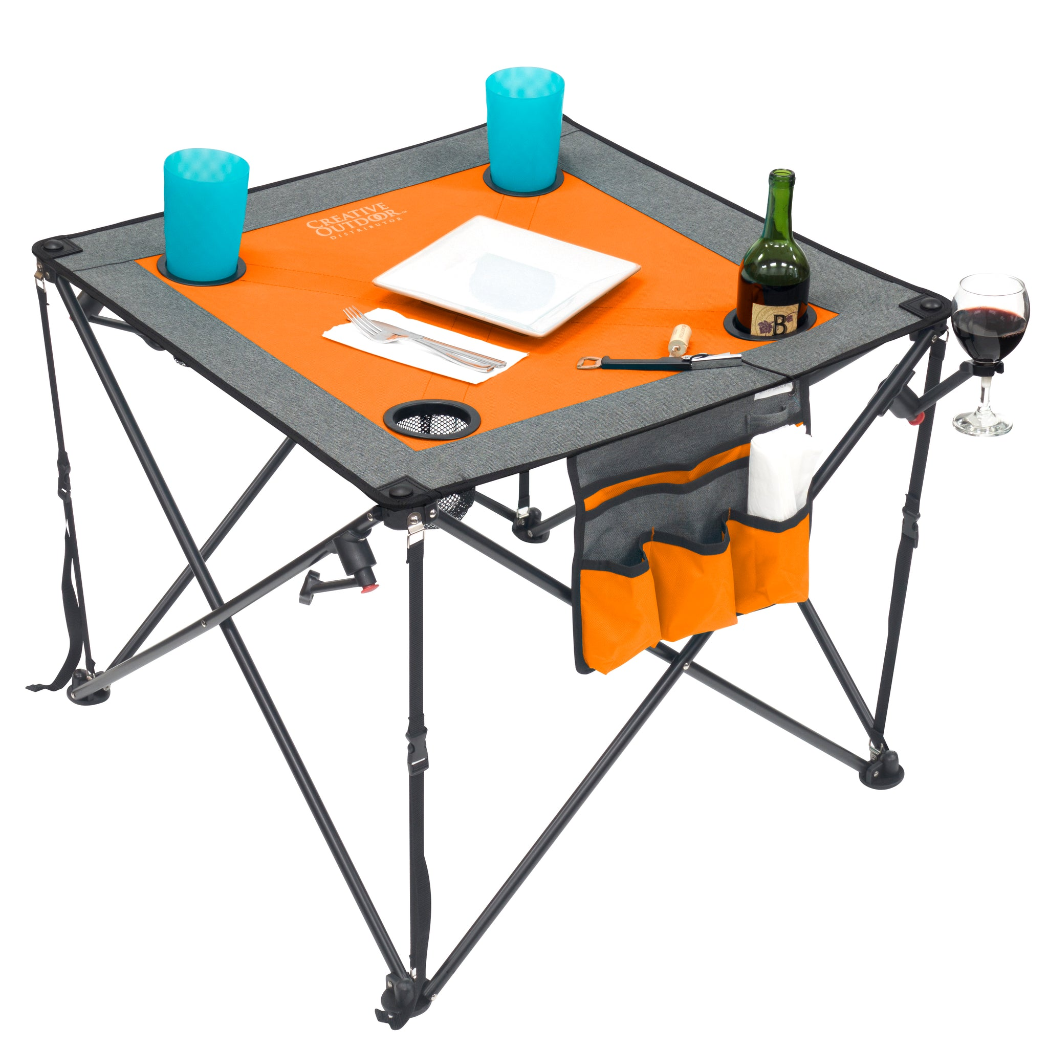 Folding Wine Table - Orange/Gray