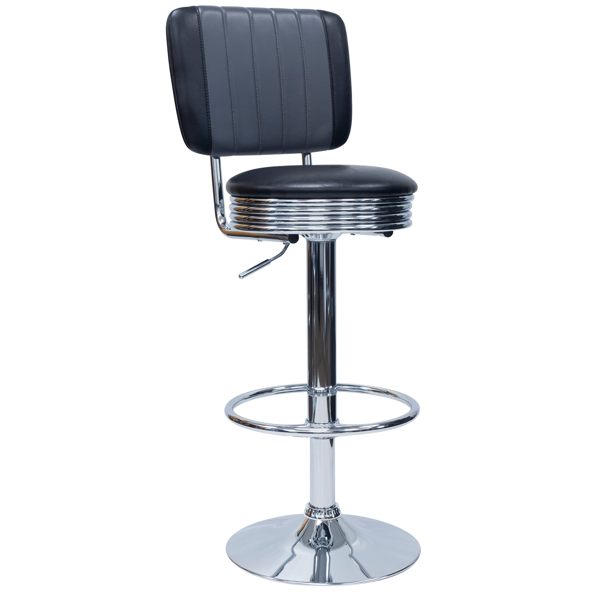 851018 Retro Adjustable Height Stool With Backrest