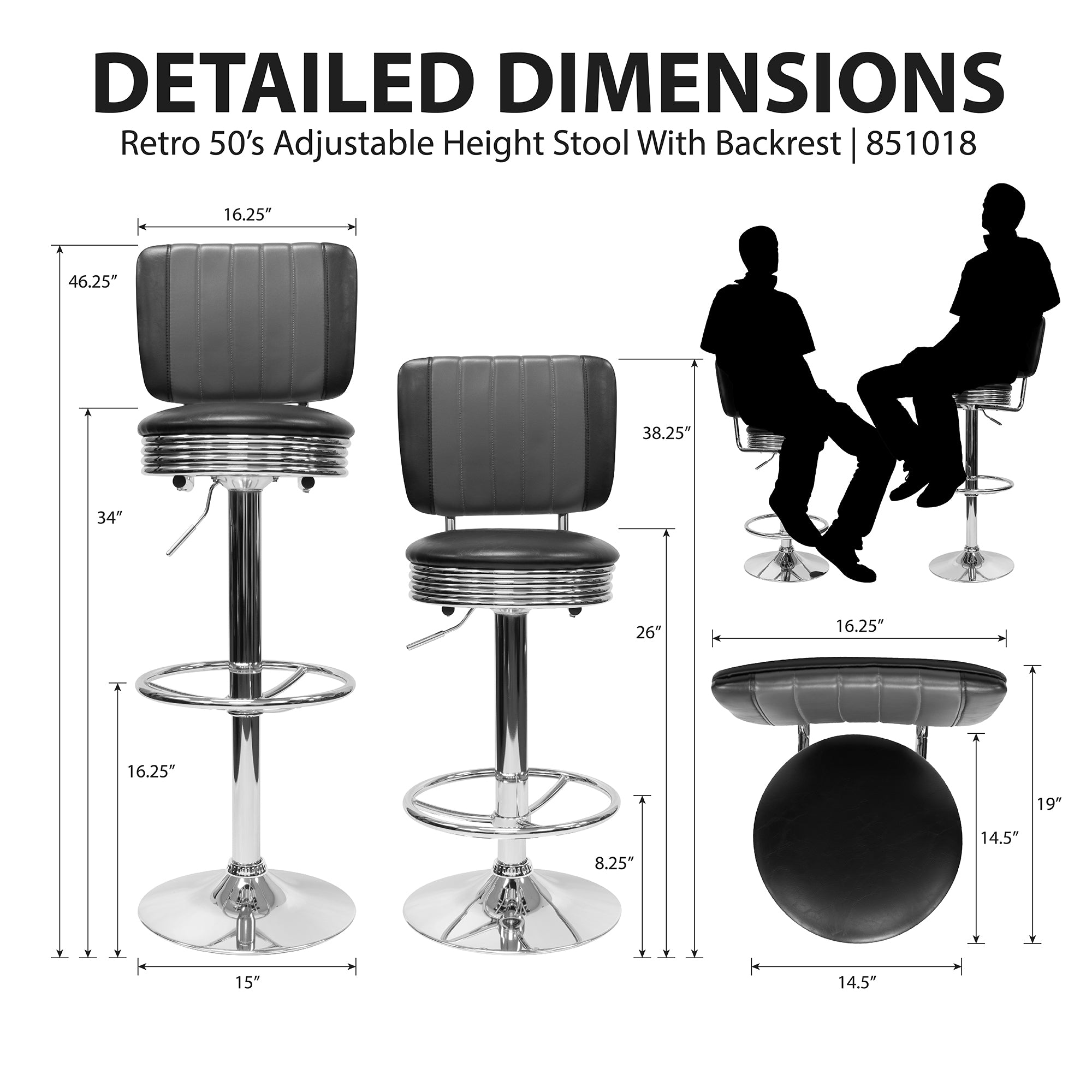 851018 Retro Adjustable Height Stool With Backrest - Dimensions