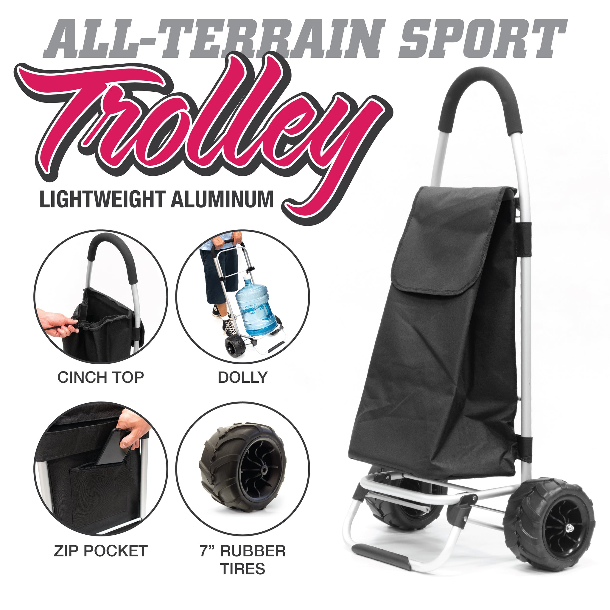 All-Terrain Folding Aluminum Trolley with Removable Cinch-Top Bag Features 890100