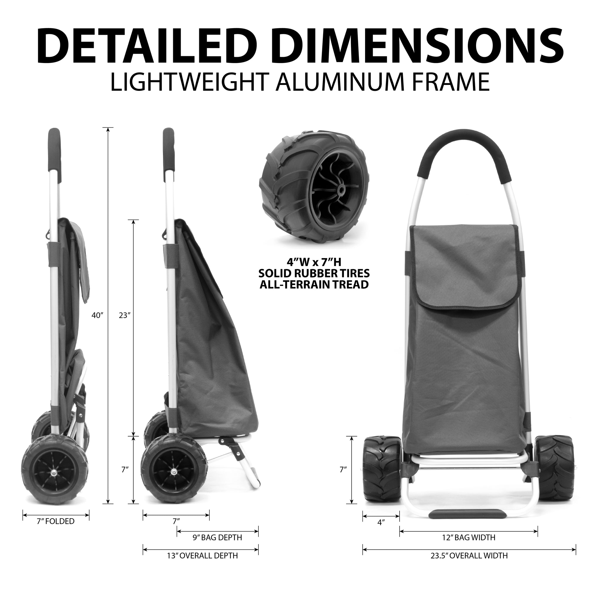 All-Terrain Folding Aluminum Trolley with Removable Cinch-Top Bag Dimensions 890100