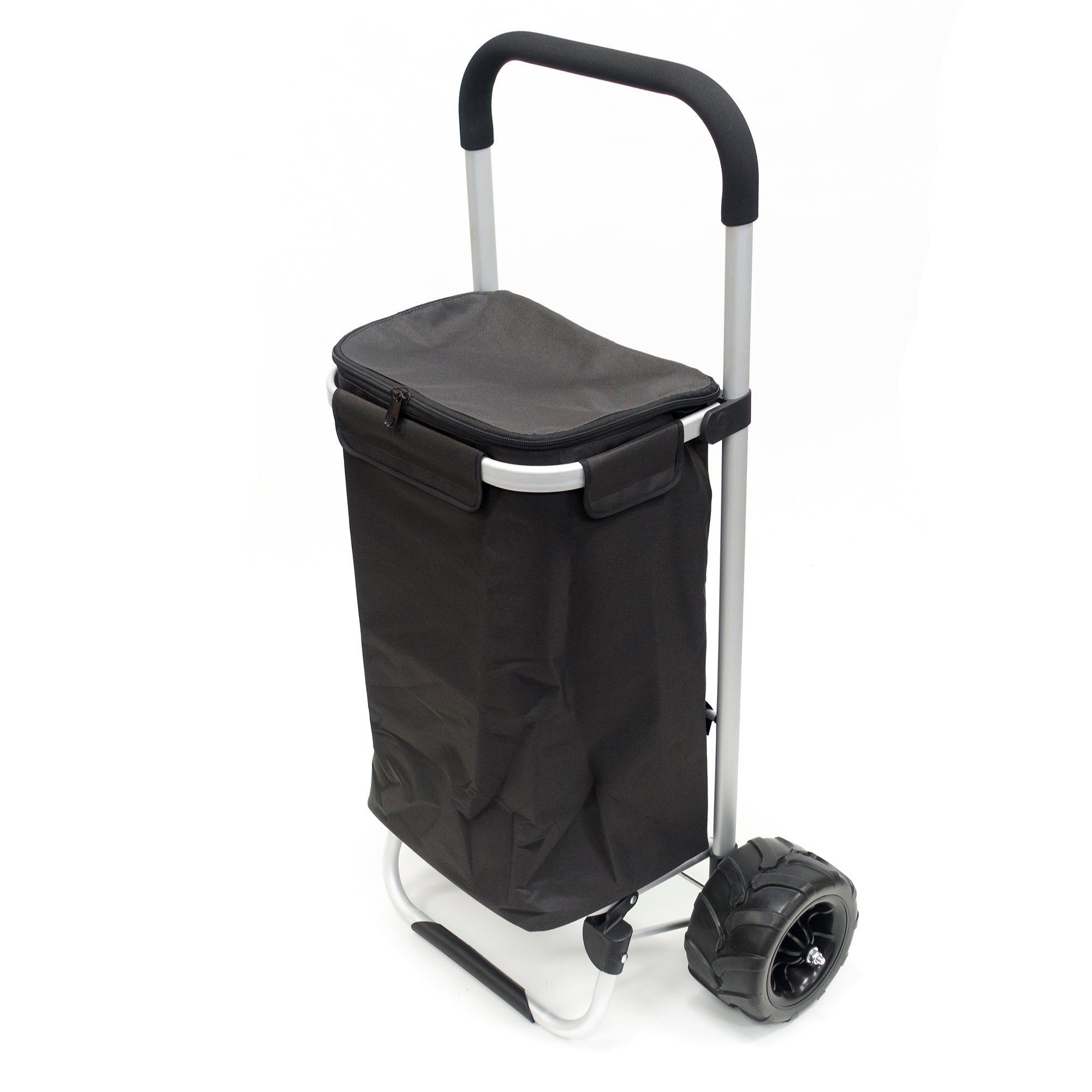 All-Terrain Folding Aluminum Trolley with Removable Zip-Top Bag Black 890200
