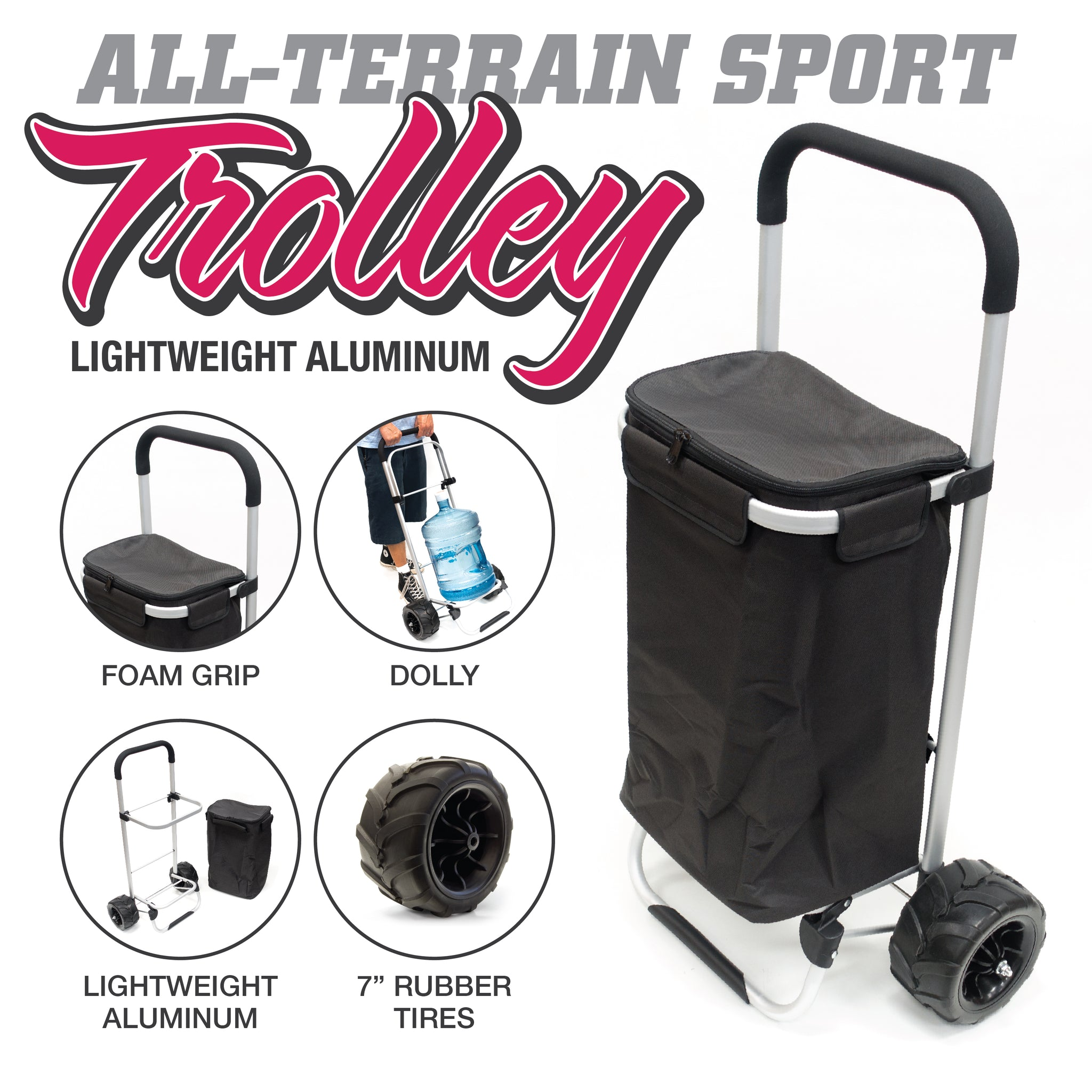All-Terrain Folding Aluminum Trolley with Removable Zip-Top Bag Black Features 890200