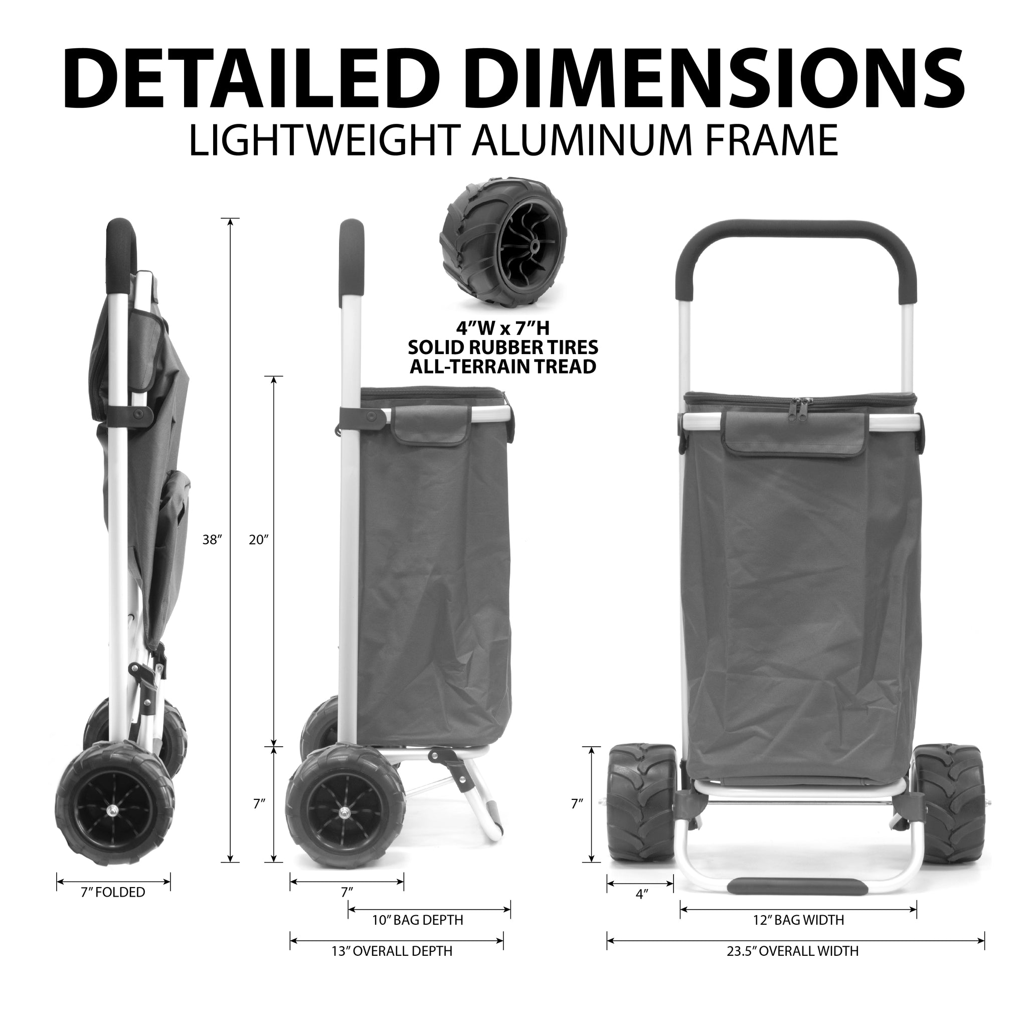All-Terrain Folding Aluminum Trolley with Removable Zip-Top Bag Black Dimensions 890200