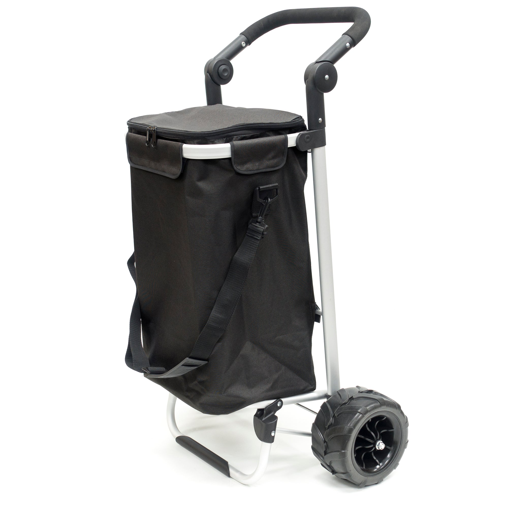 All-Terrain Folding Aluminum Trolley with Adjustable Handle Black 890300