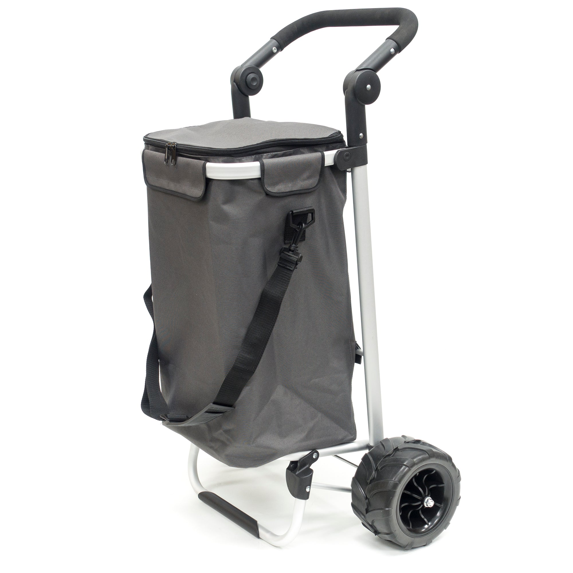 All-Terrain Folding Aluminum Trolley with Adjustable Handle Gray 890310