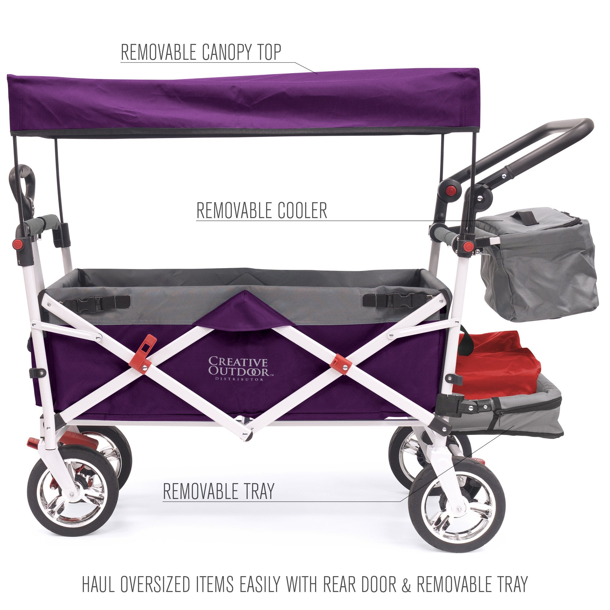 Silver Series Push Pull Folding Stroller Wagon Purple
