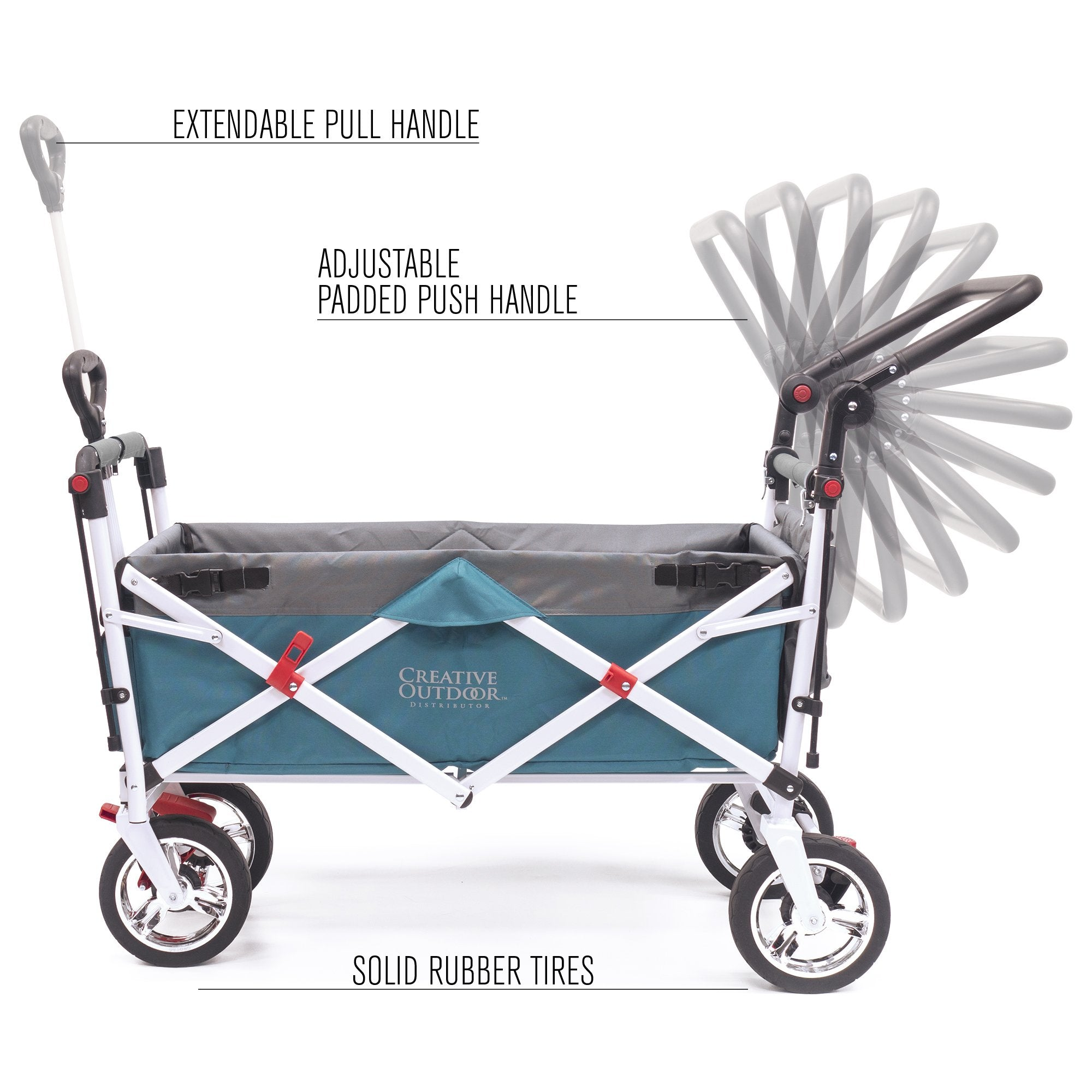 Silver Series Push Pull Folding Stroller Wagon Teal