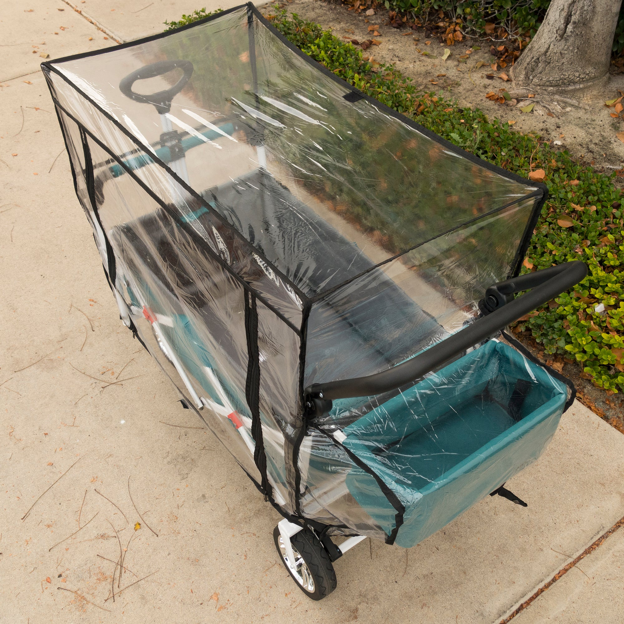 Push Pull Folding Wagon Rain Cover Accessory Rear View