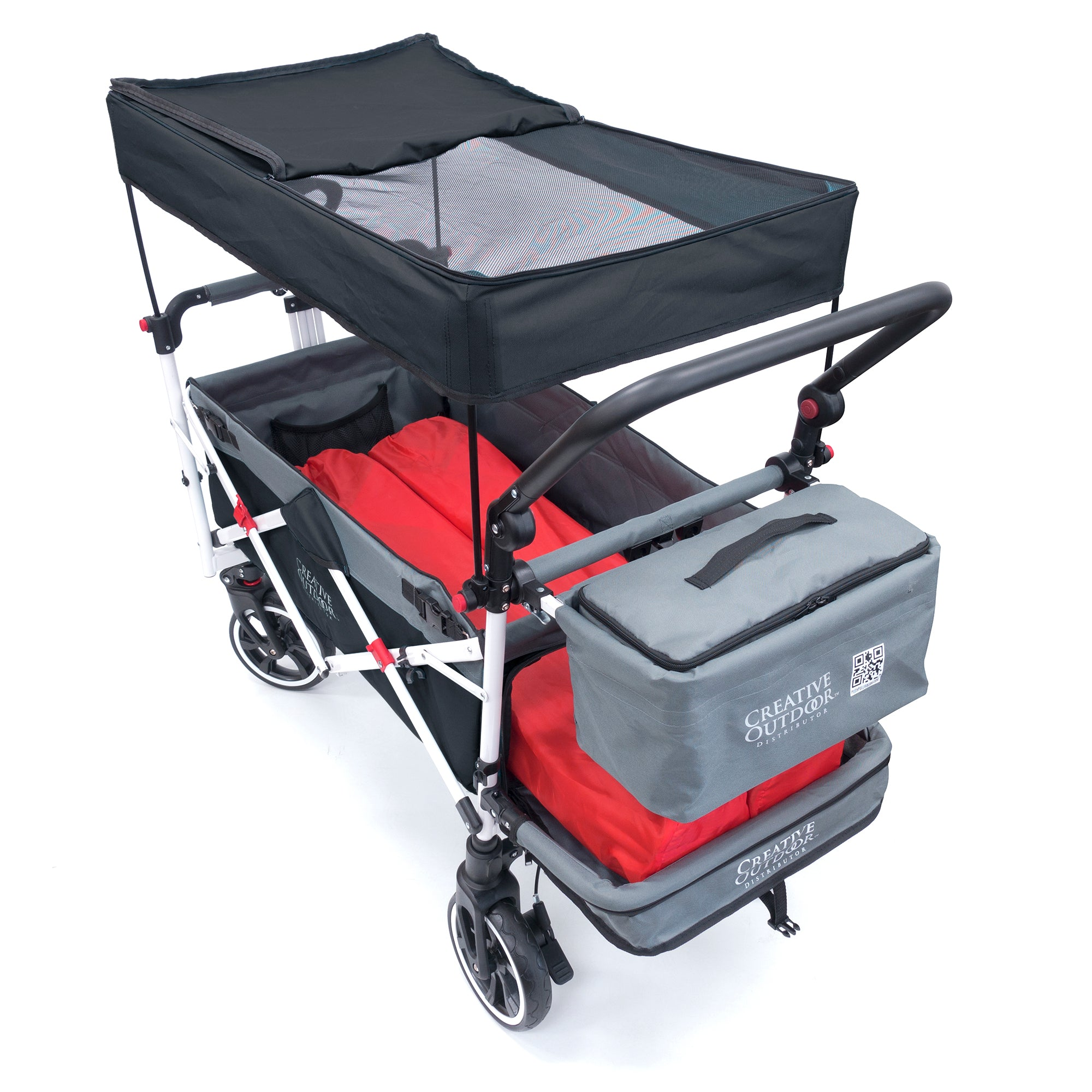 Push Pull TITANIUM SERIES Folding Wagon Stroller with Canopy | Black