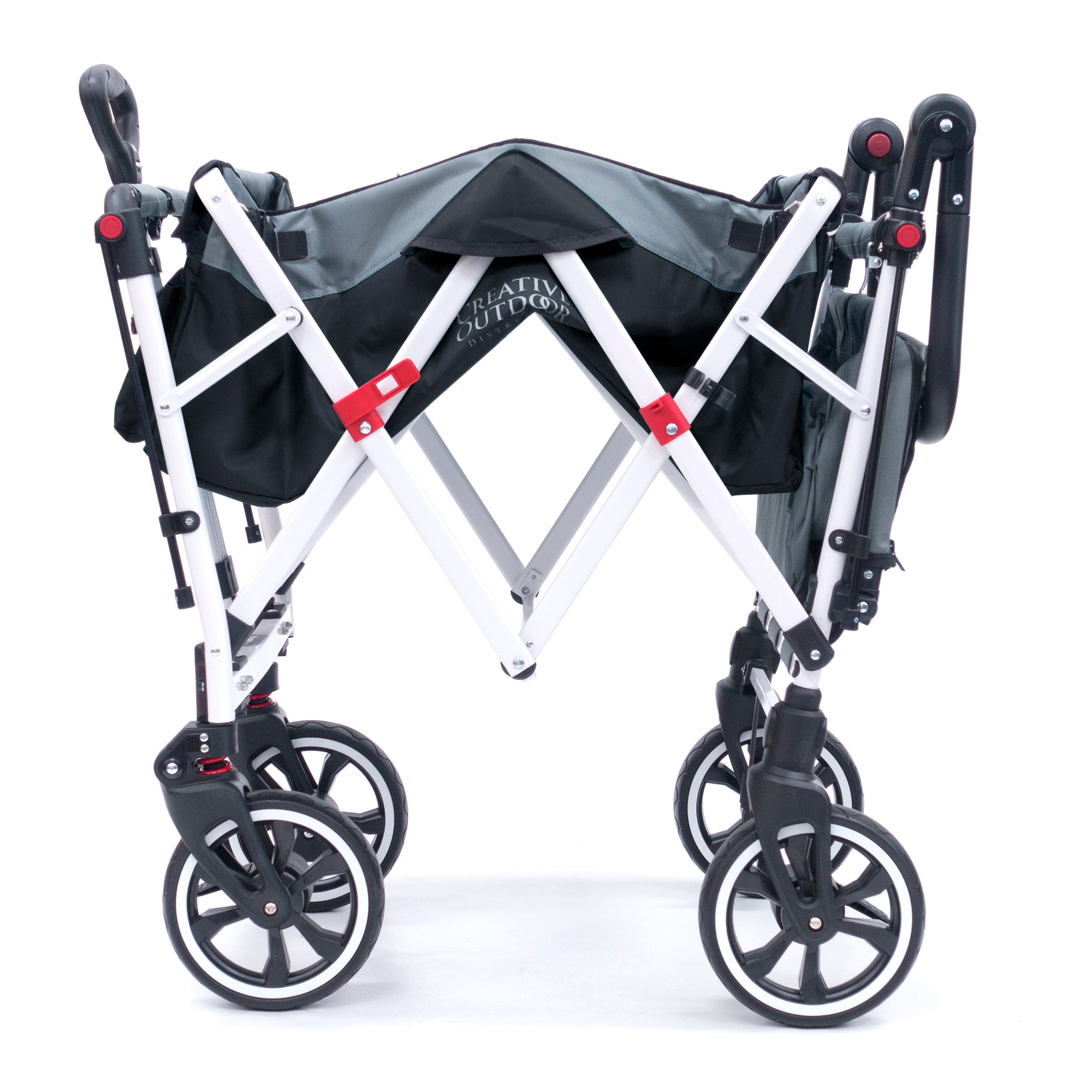 Push Pull TITANIUM SERIES PLUS Folding Wagon Stroller with Canopy | Black
