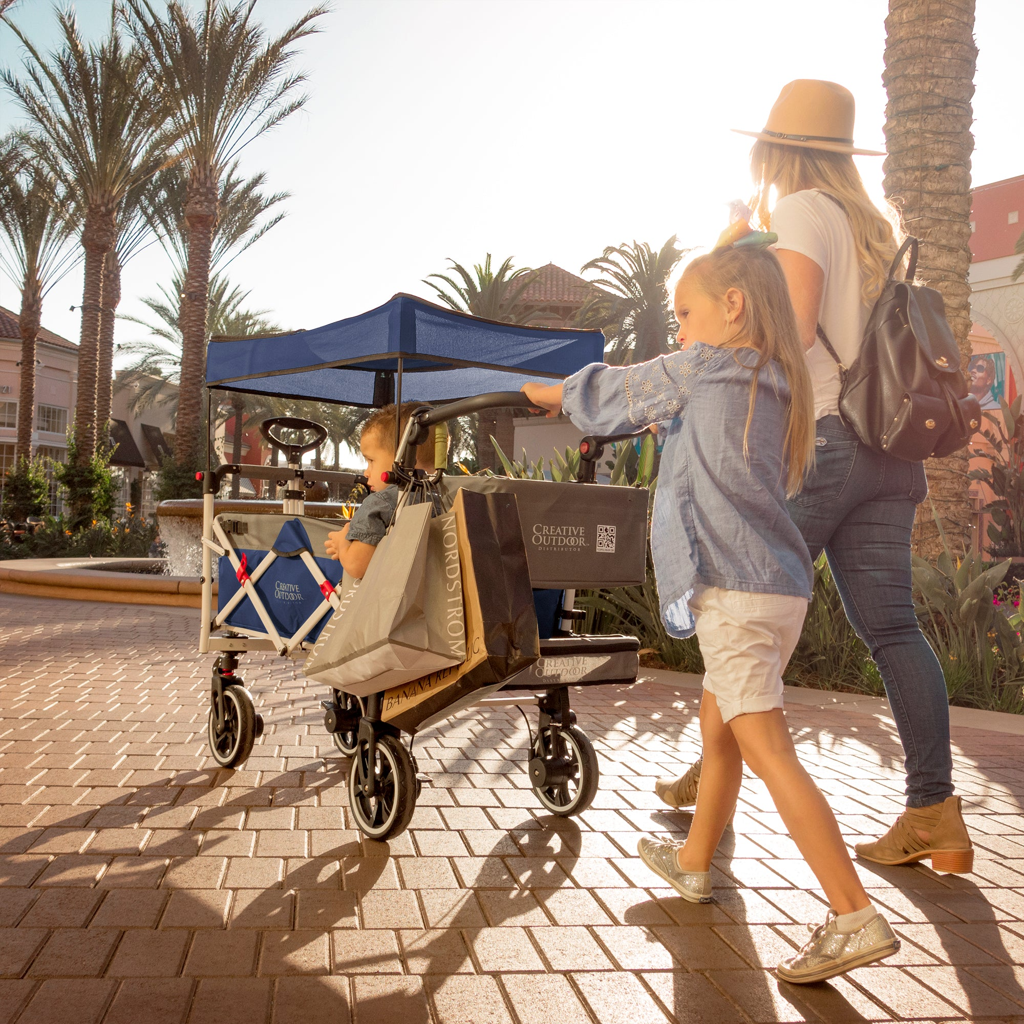 Push Pull TITANIUM SERIES Folding Wagon Stroller with Canopy | Navy Blue