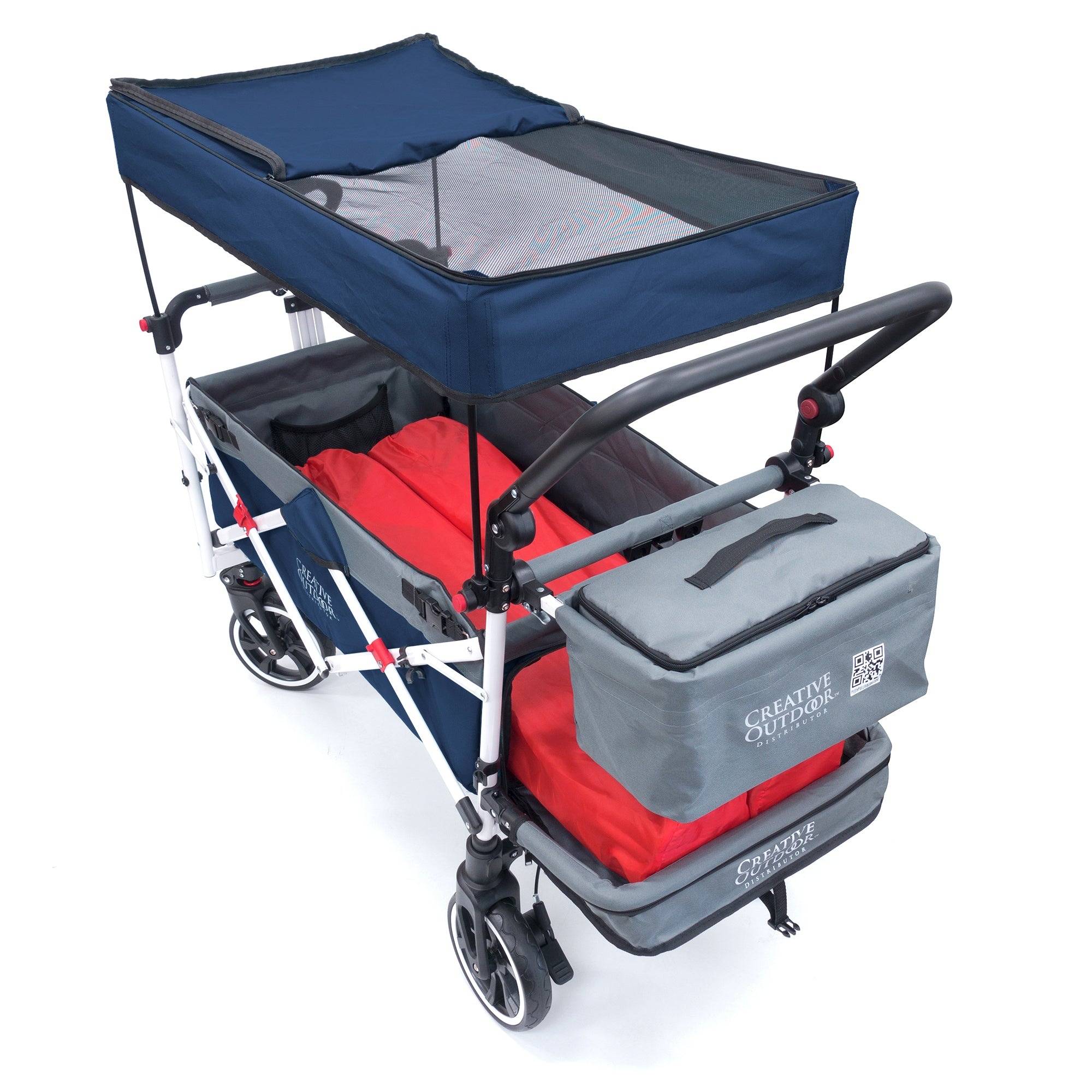Push Pull TITANIUM SERIES PLUS Folding Wagon Stroller with Canopy | Navy Blue