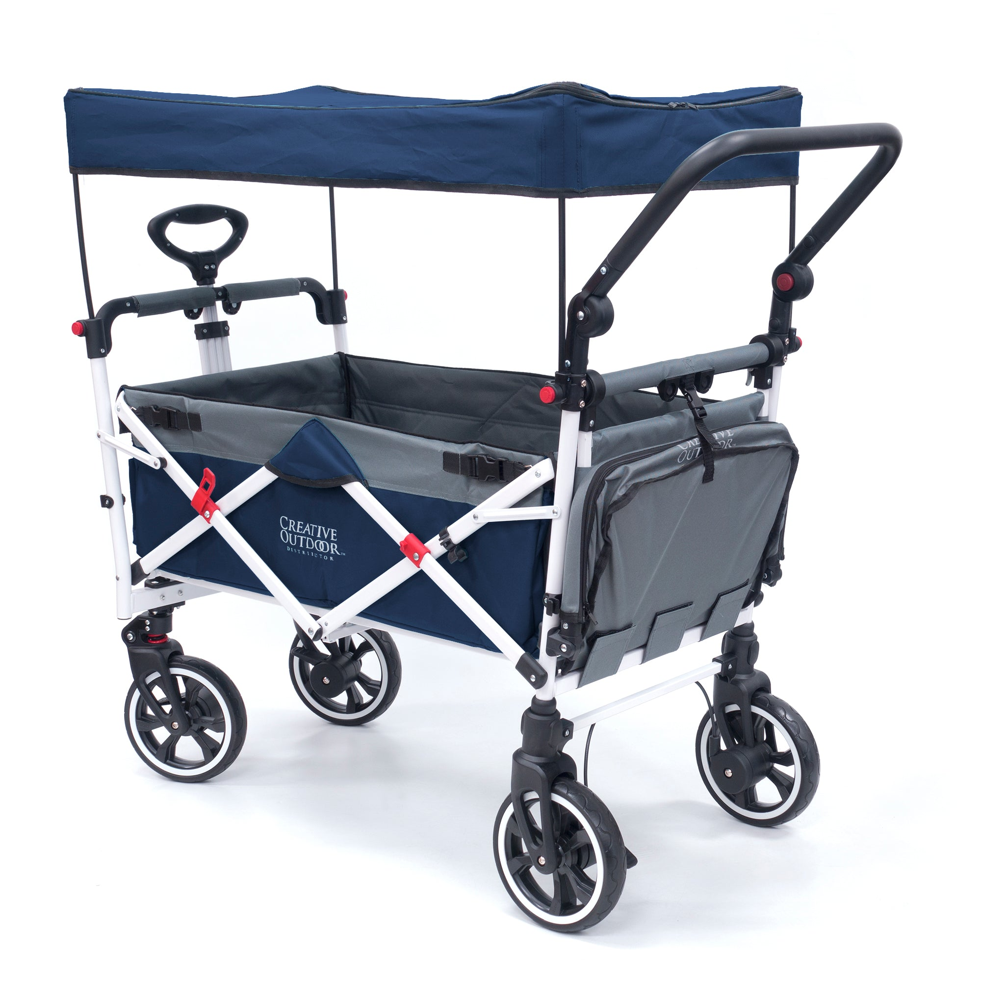Push Pull Folding Stroller Wagon Titanium Series Navy Blue