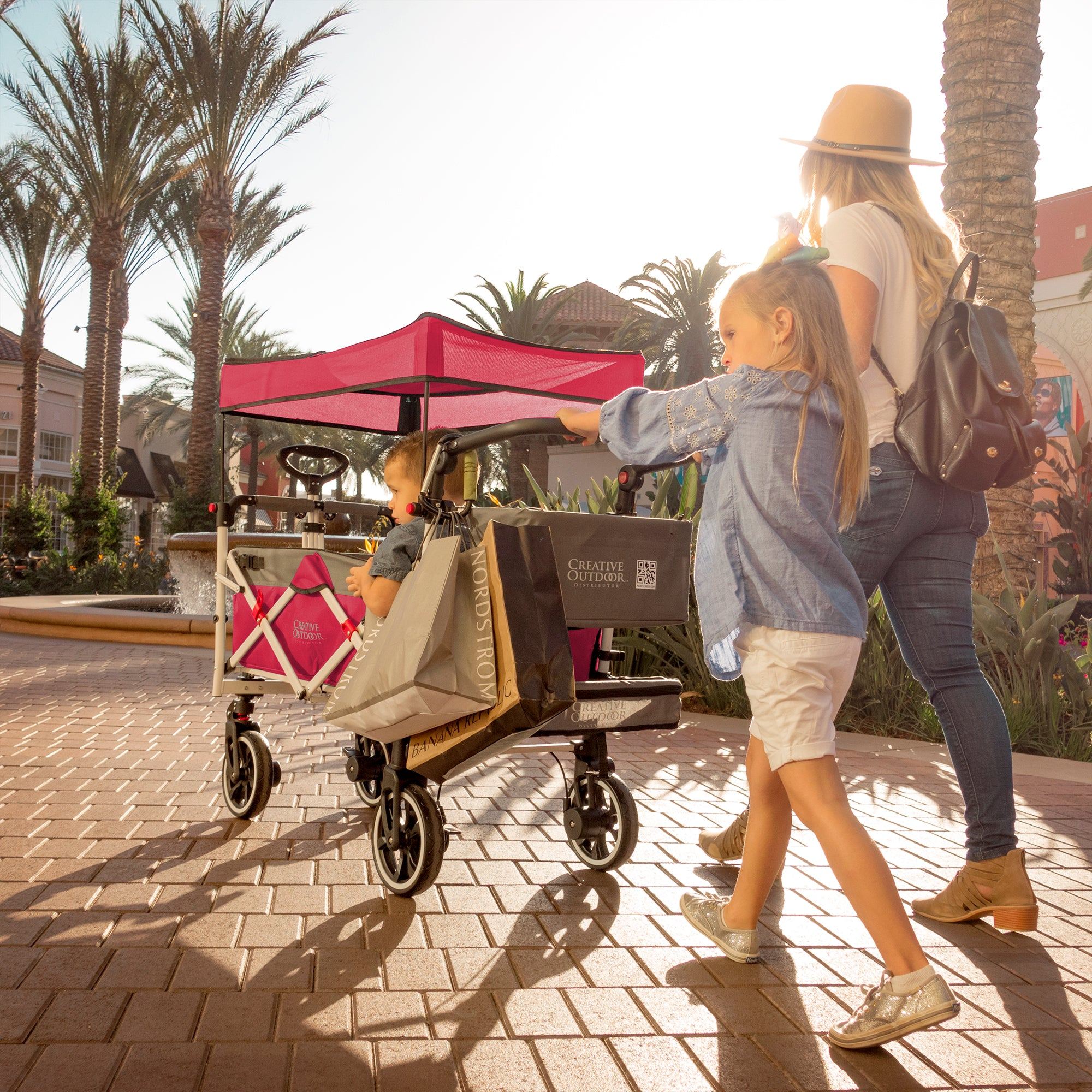 Push Pull TITANIUM SERIES PLUS Folding Wagon Stroller with Canopy | Pink