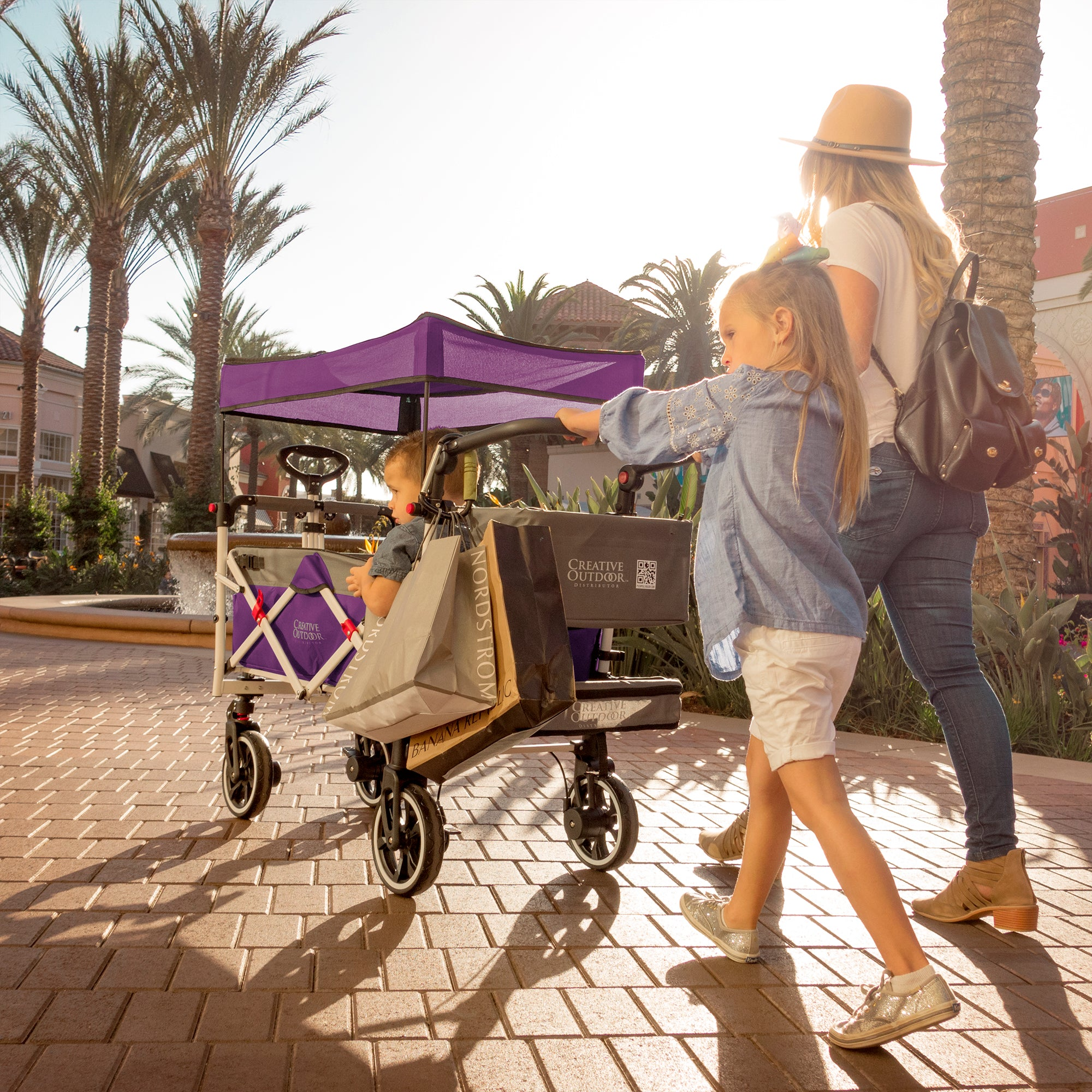 Push Pull TITANIUM SERIES PLUS Folding Wagon Stroller with Canopy | Purple