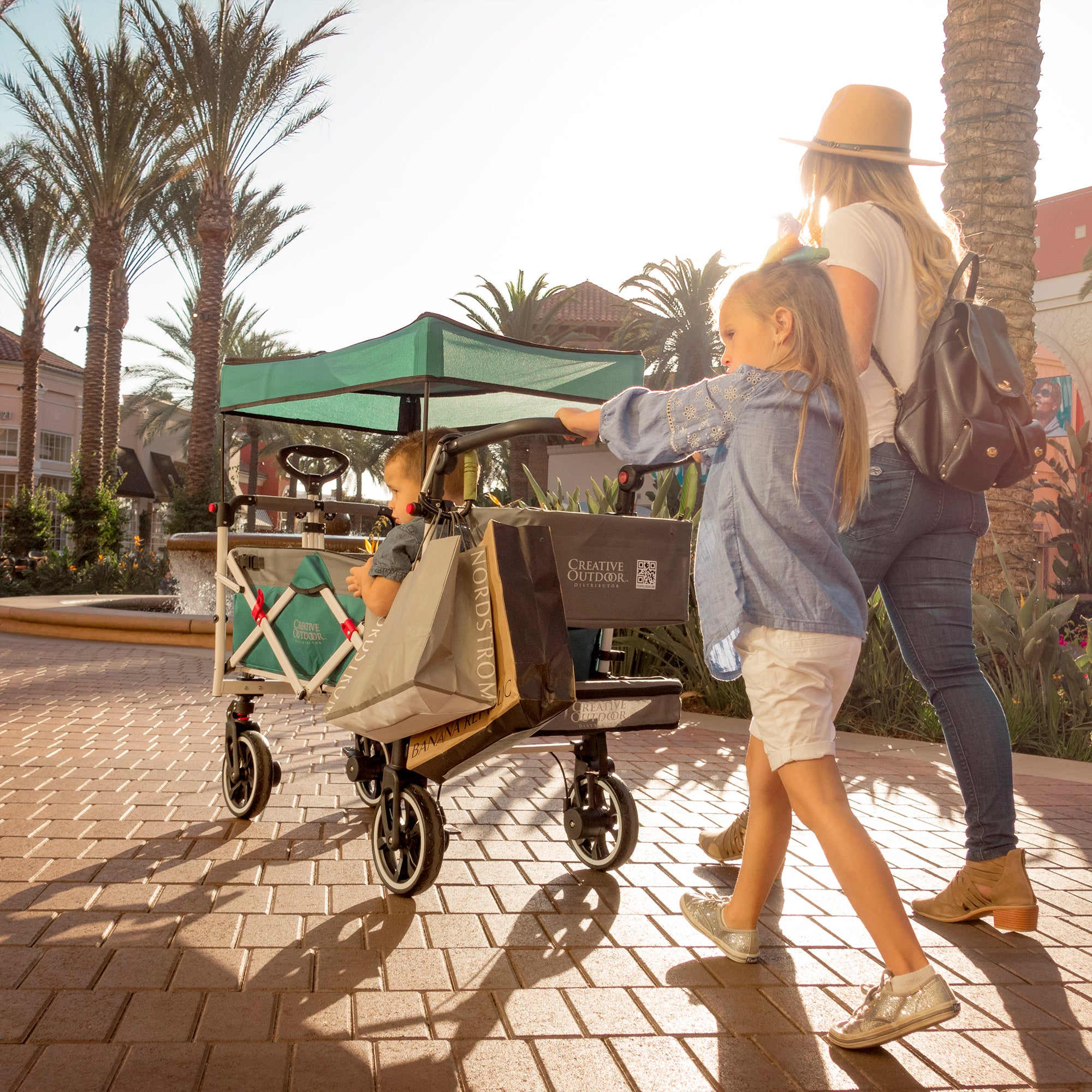 Push Pull TITANIUM SERIES Folding Wagon Stroller with Canopy | Teal