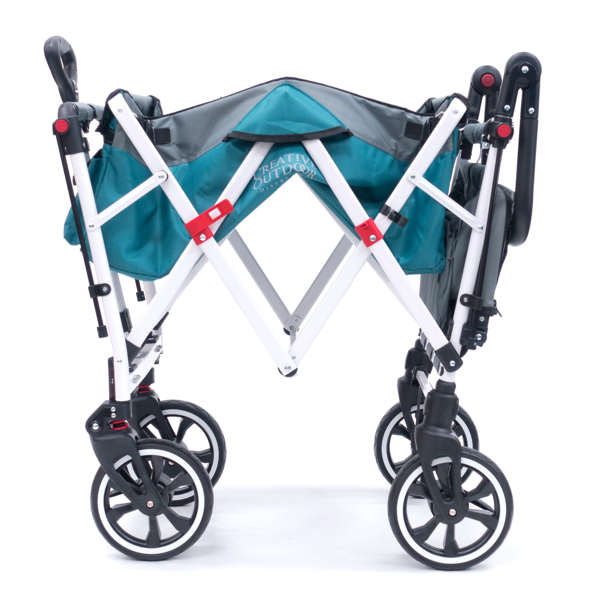 Push Pull TITANIUM SERIES PLUS Folding Wagon Stroller with Canopy | Teal