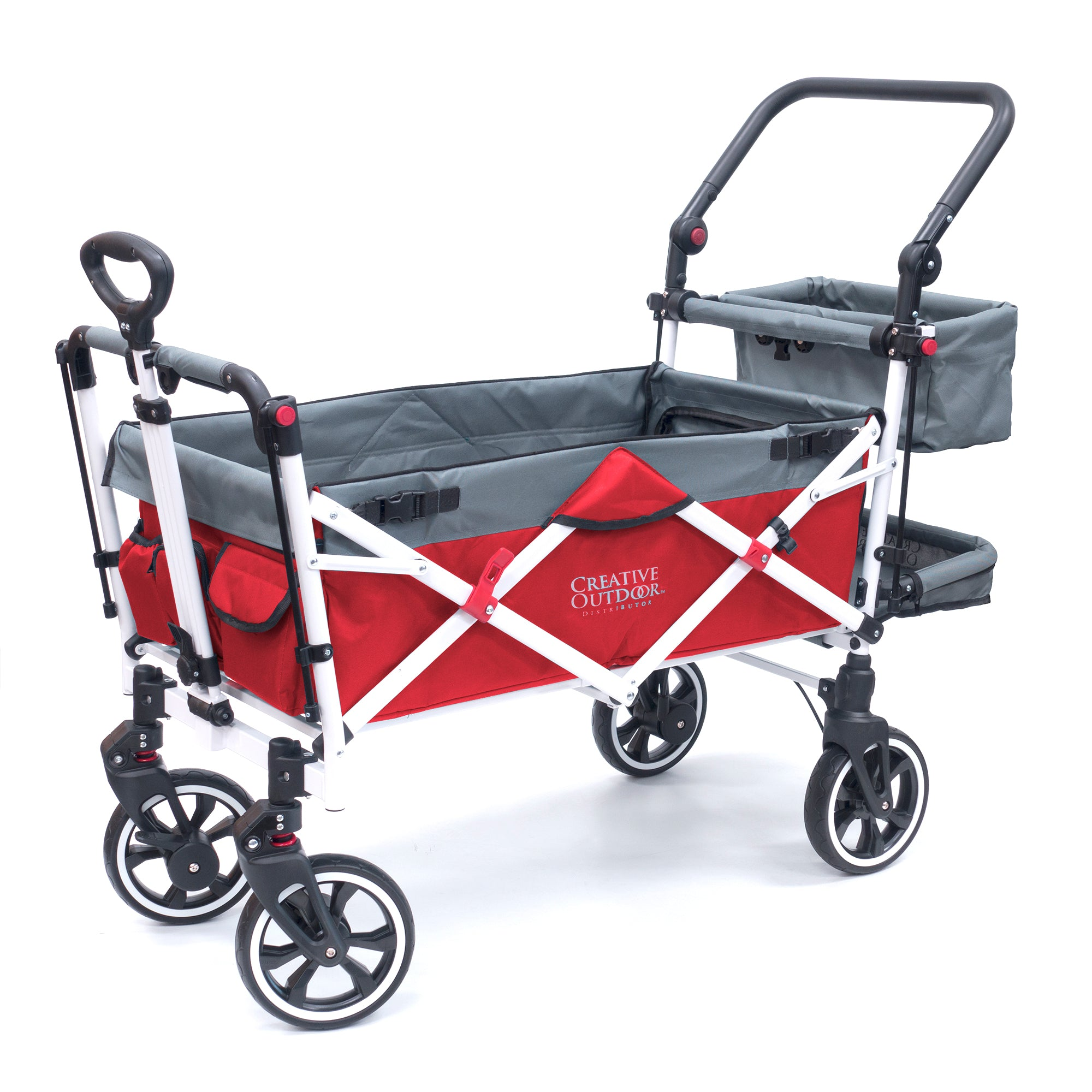Push Pull Folding Stroller Wagon Titanium Series Red