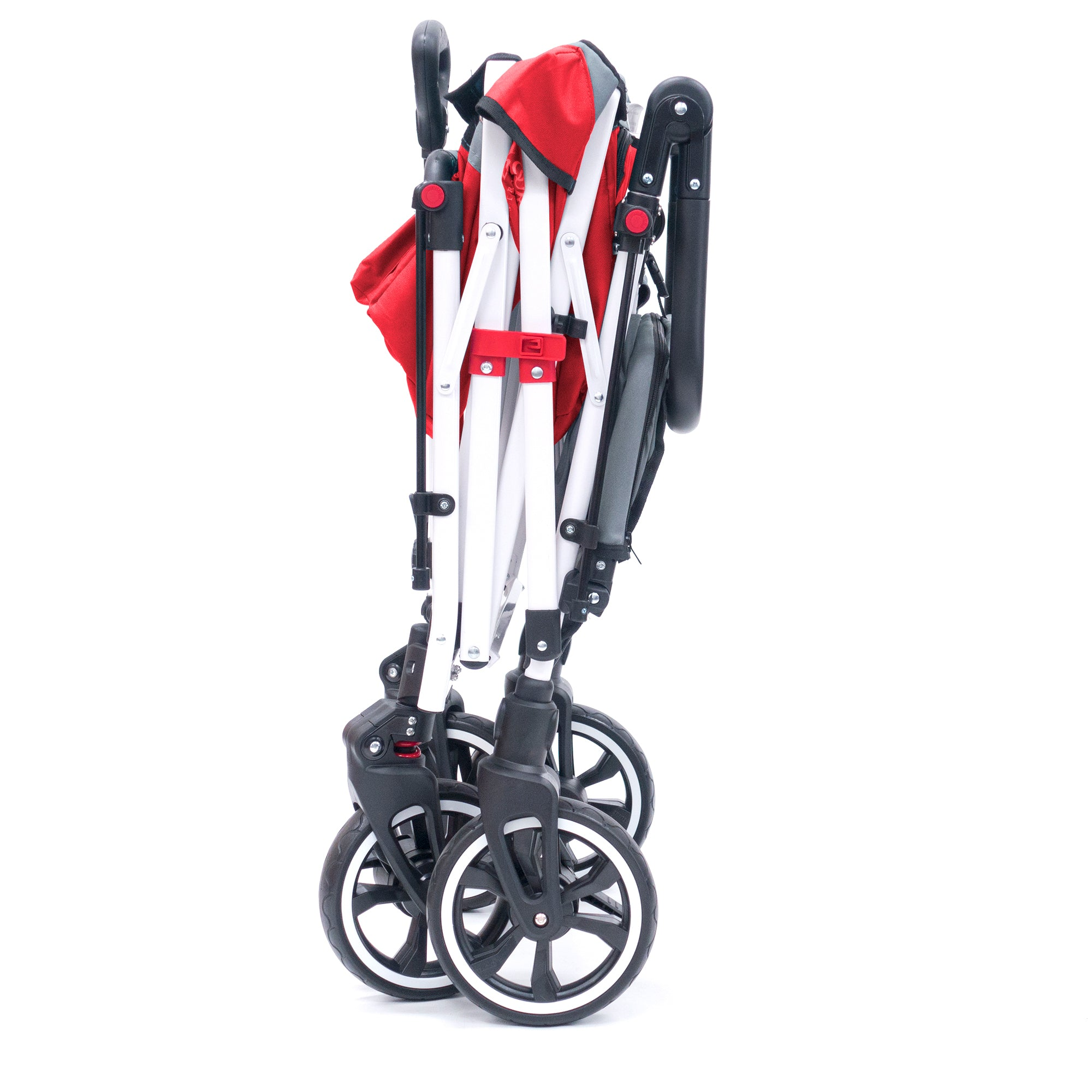 Push Pull TITANIUM SERIES PLUS Folding Wagon Stroller with Canopy | Red