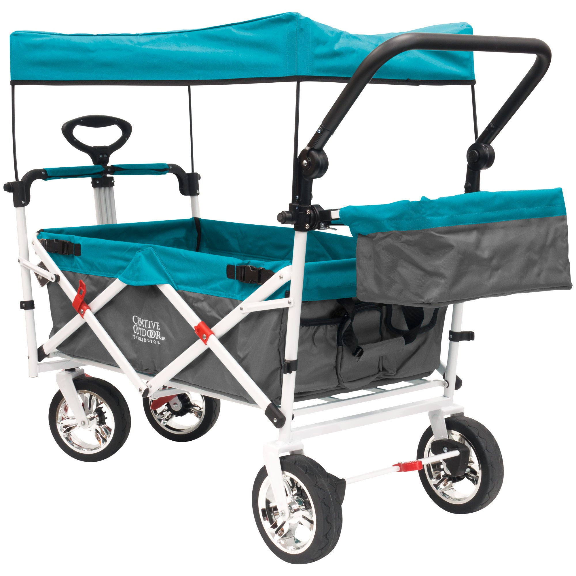 Push Pull SILVER SERIES PLUS Folding Wagon Stroller with Canopy | Teal
