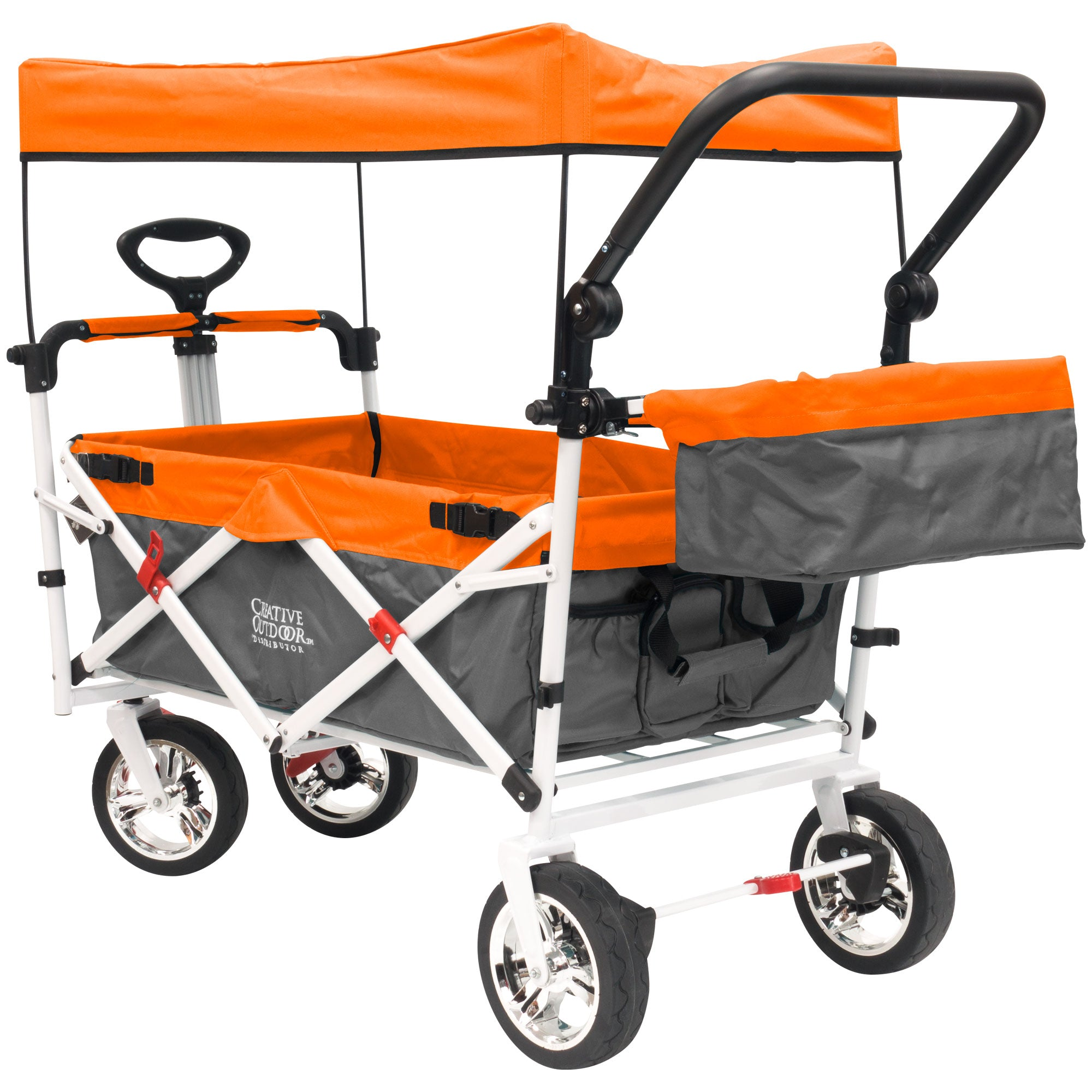 Push Pull SILVER SERIES PLUS Folding Wagon Stroller with Canopy | Orange
