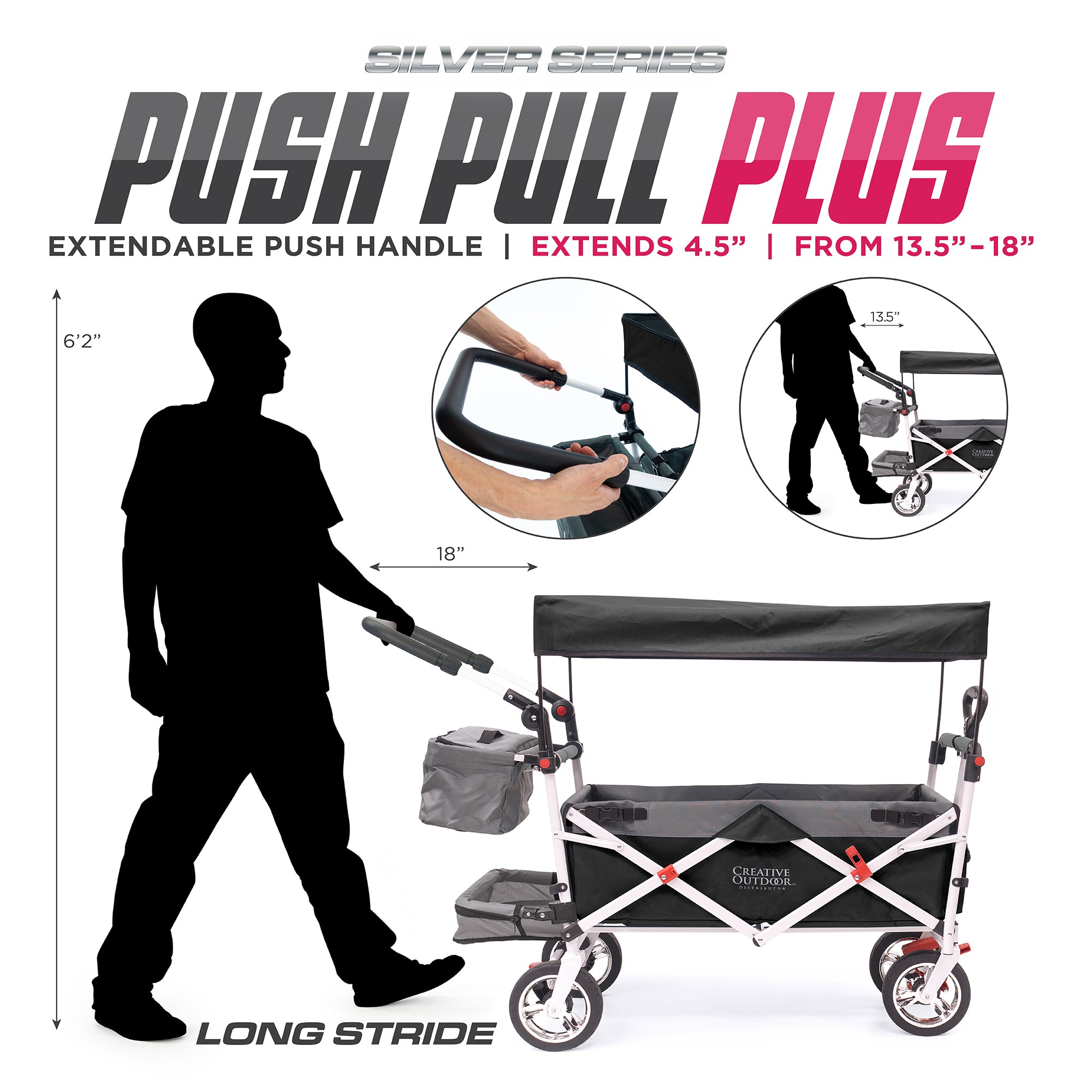 Silver Series Push Pull Folding Stroller Wagon Dimensions  Plus Extendable Handle
