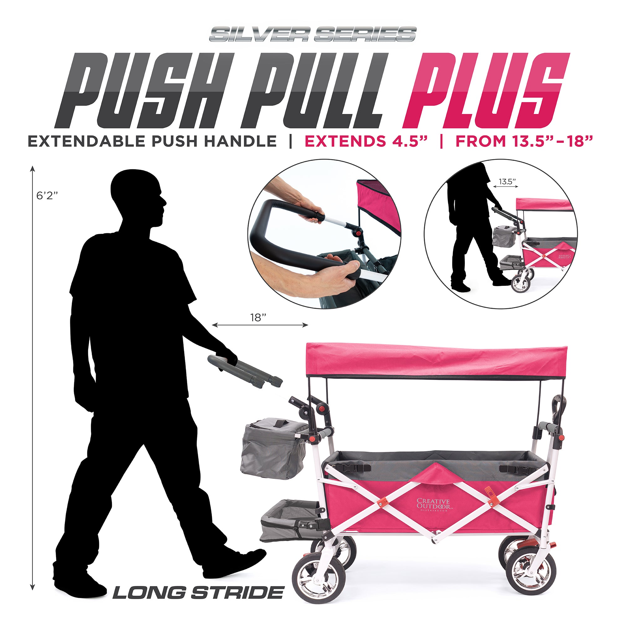 Silver Series Push Pull Folding Stroller Wagon Pink Plus Extendable Handle