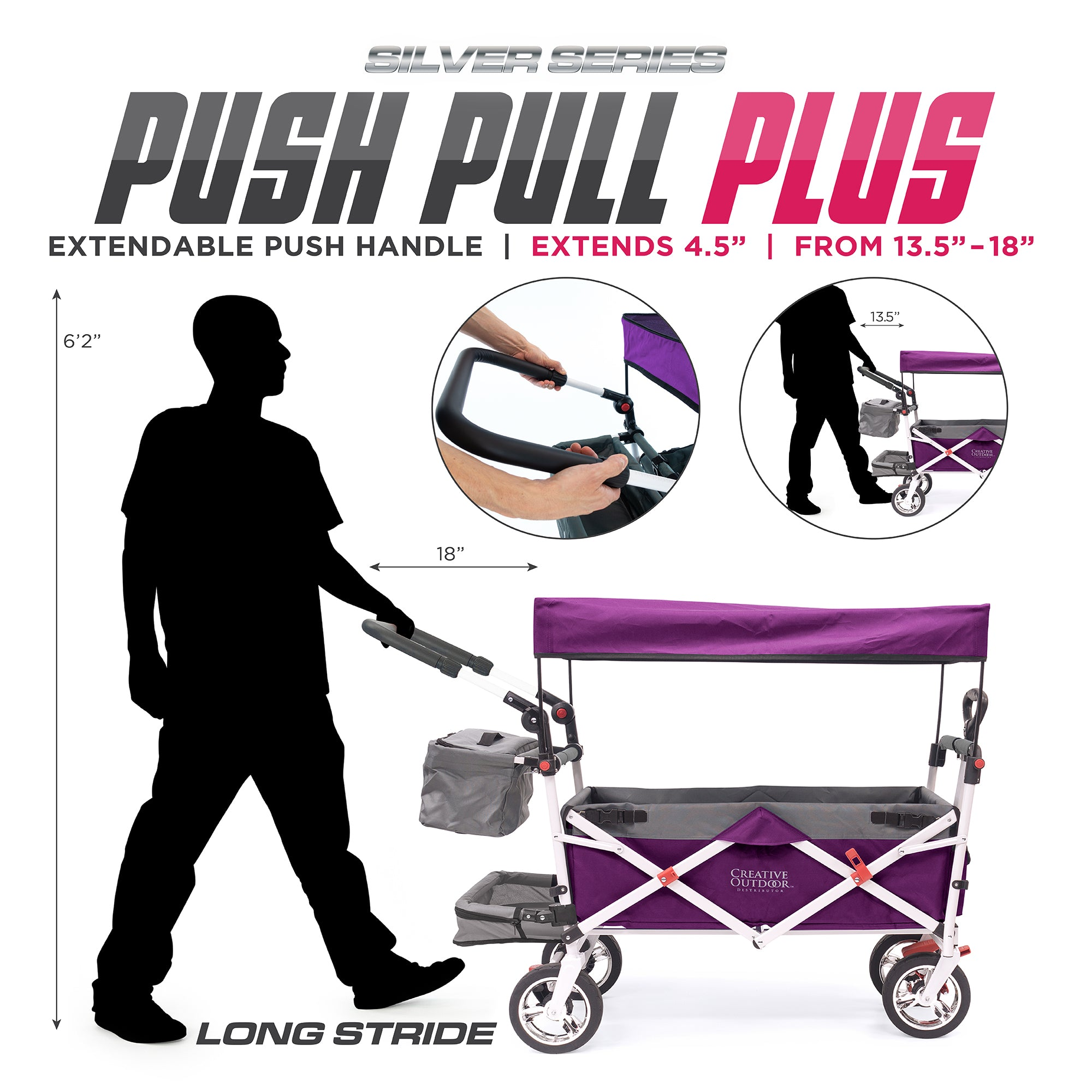 Silver Series Push Pull Folding Stroller Wagon Purple Extendable Handle Plus