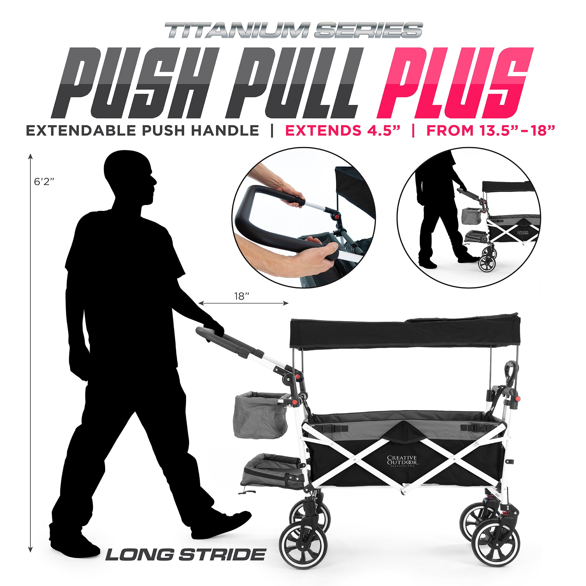 Push Pull Folding Stroller Wagon Titanium Series Plus Extendable Handle