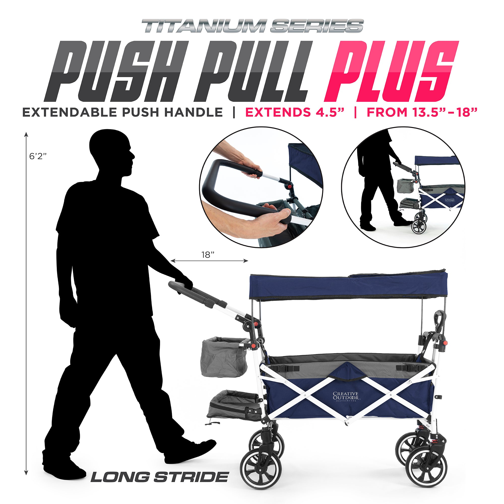 Push Pull Folding Stroller Wagon Titanium Series Navy Blue Plus Extendable Handle