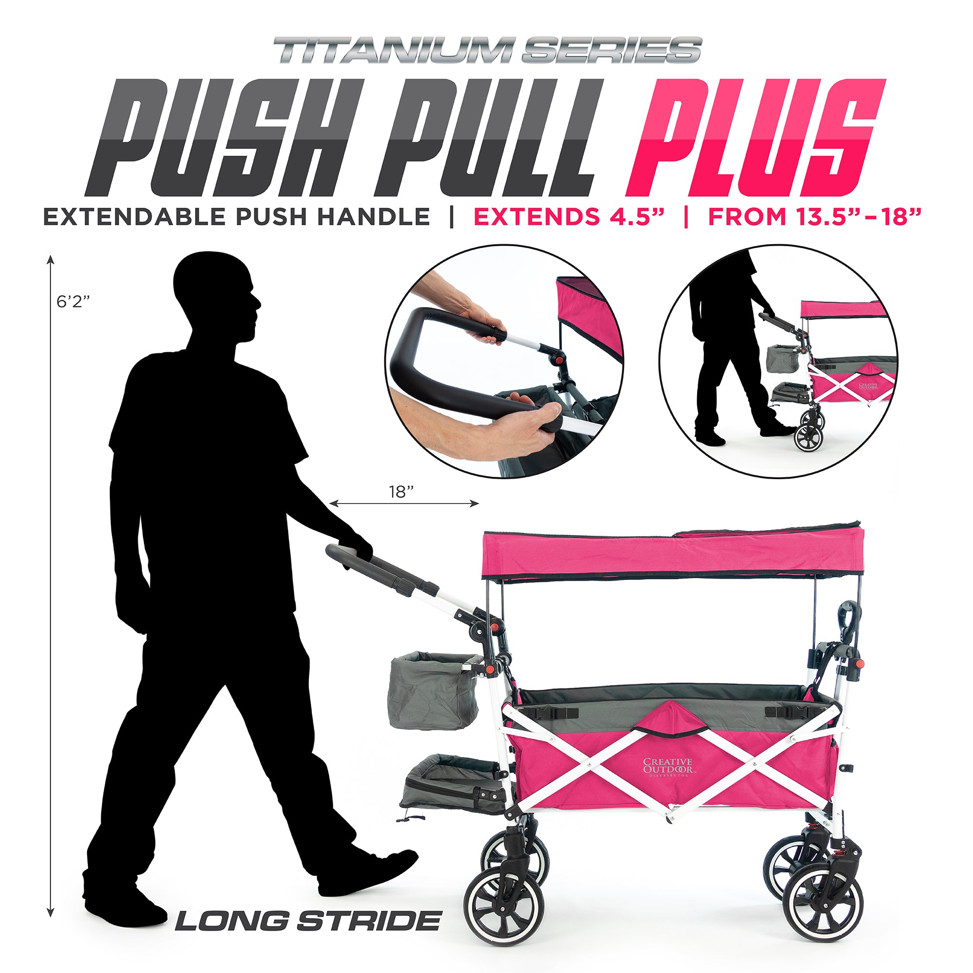 Push Pull Folding Stroller Wagon Titanium Series Pink PLUS Extendable Handle