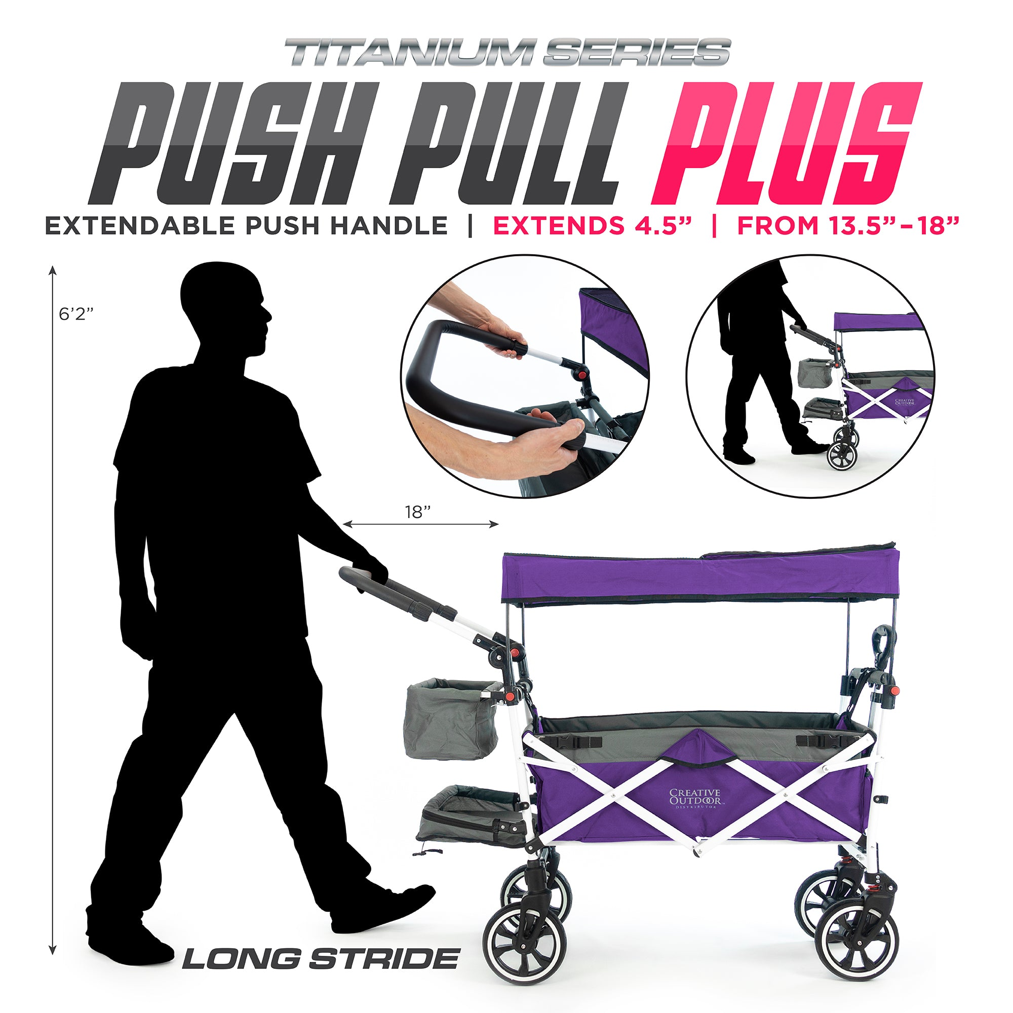 Push Pull Folding Stroller Wagon Titanium Series Purple PLUS Extendable Handle
