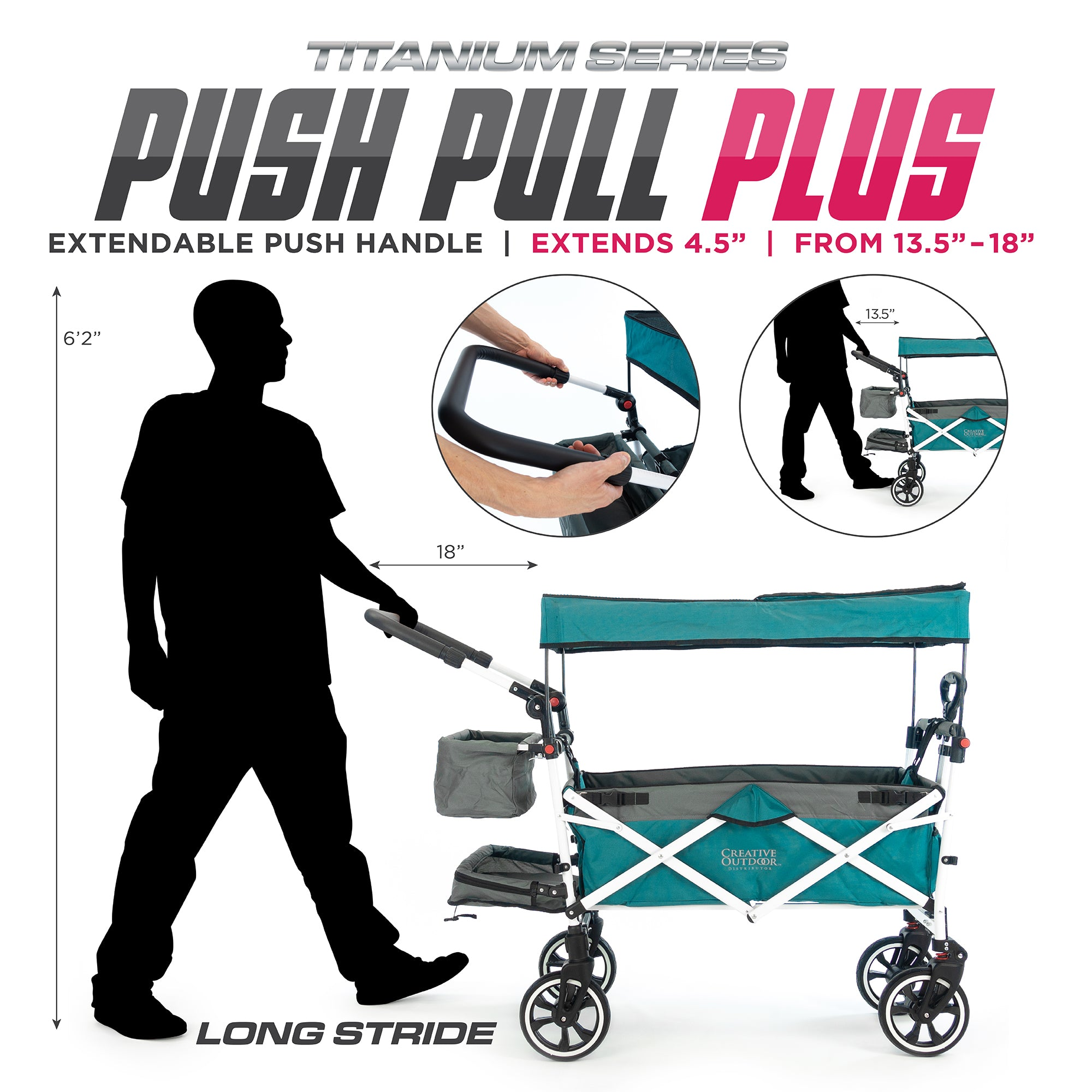 Push Pull Folding Stroller Wagon Titanium Series Teal PLUS Extendable Handle