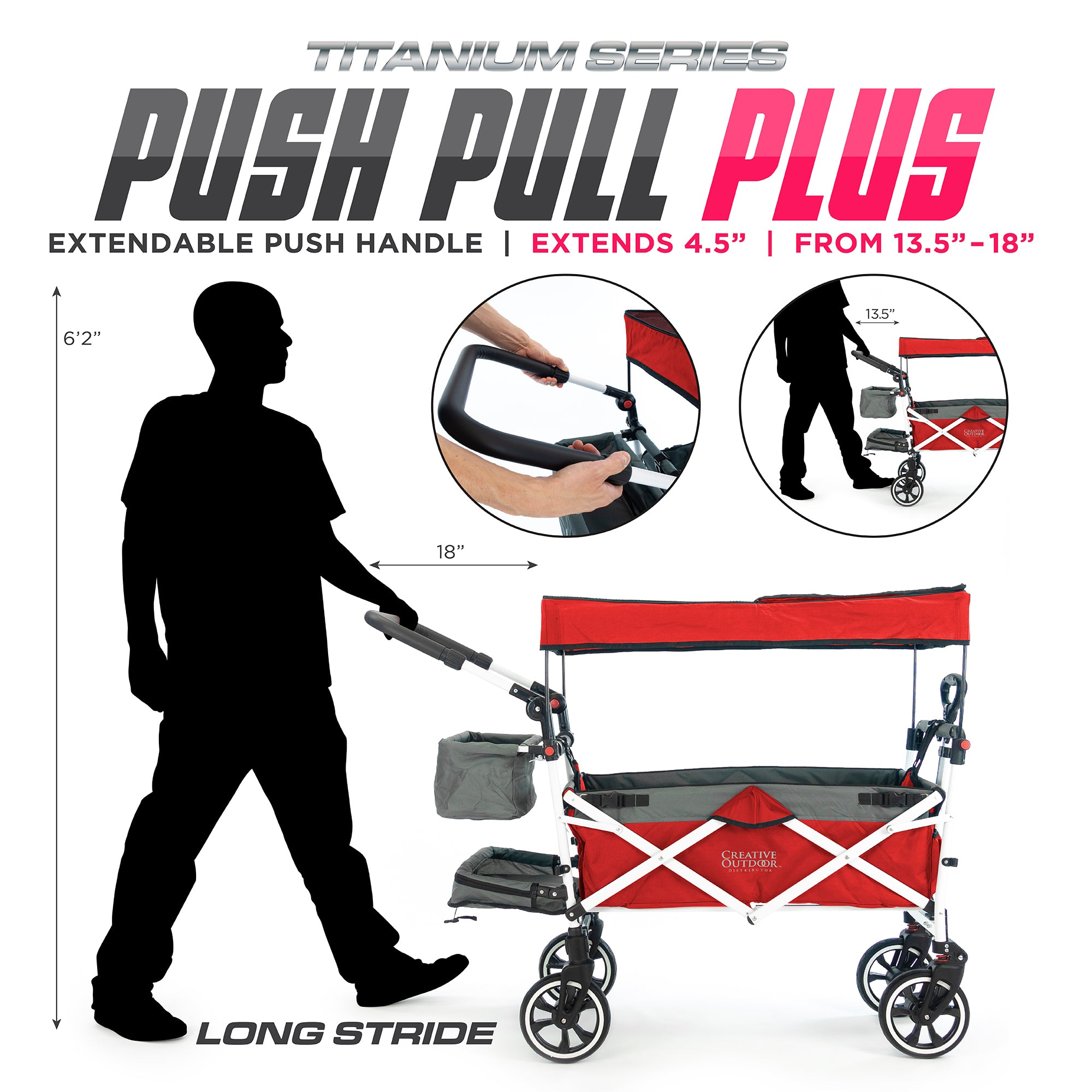 Push Pull Folding Stroller Wagon Titanium Series Red | Suspension Spring Plus Extendable Handle