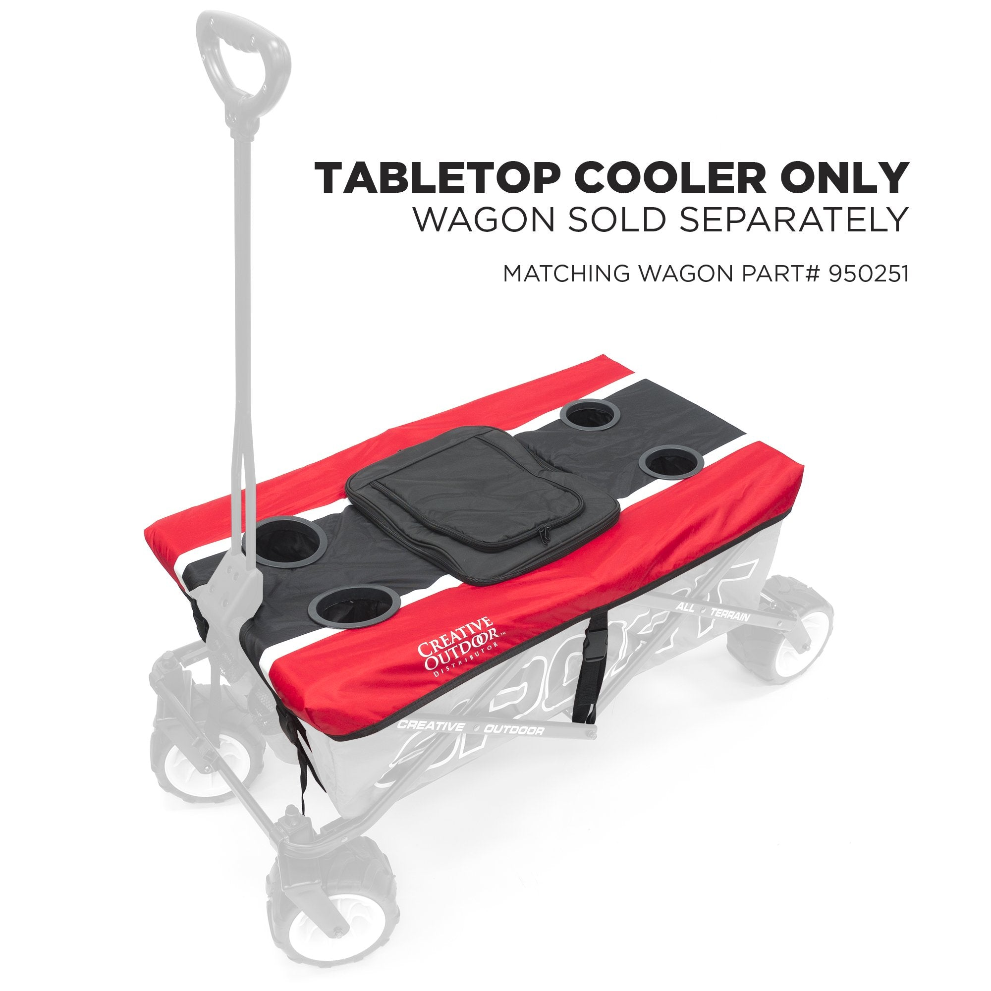 All-Terrain SPORT Folding Wagon Tabletop Cooler Accessory | Red Black