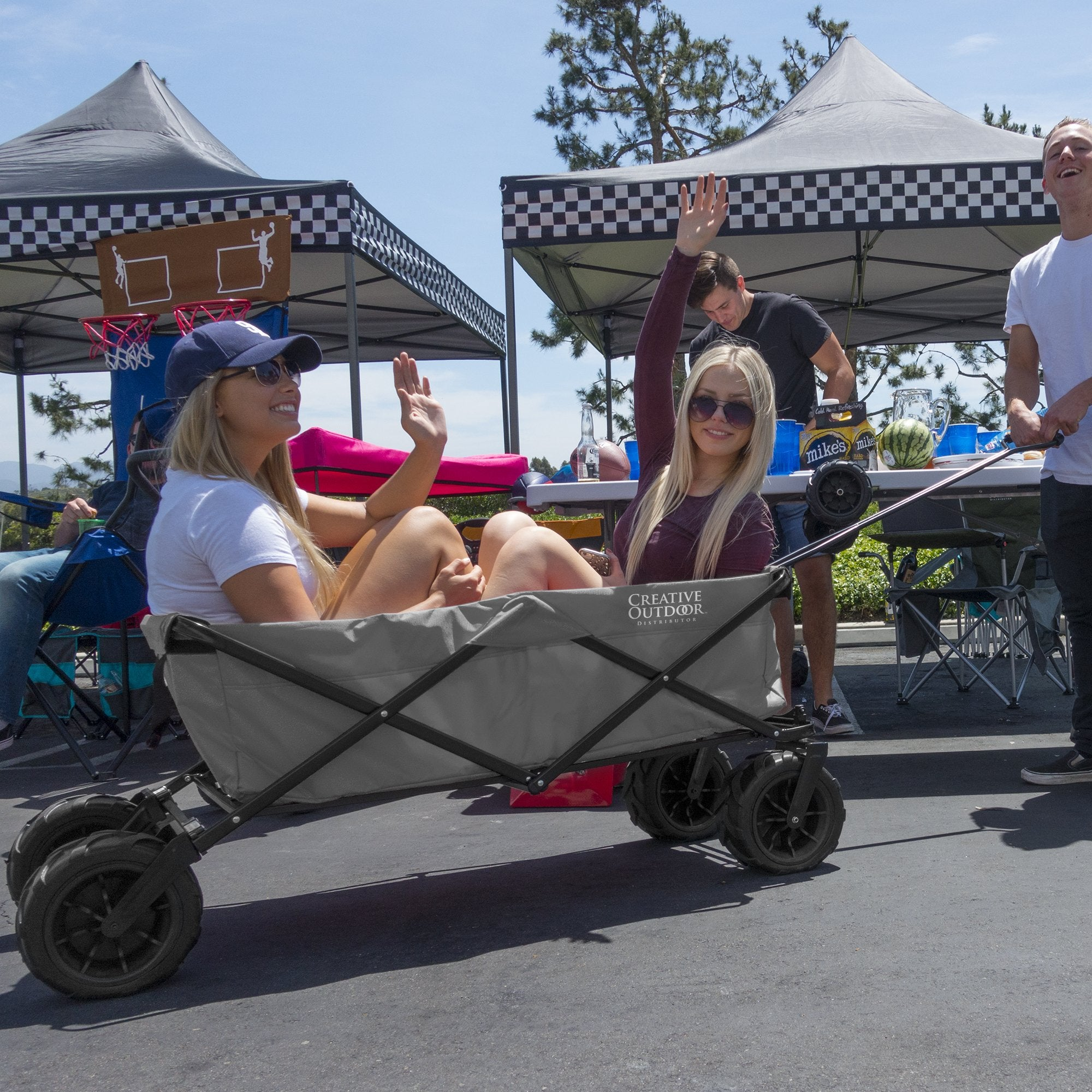 XXXL Monster Folding Wagon Gray Lifestyle