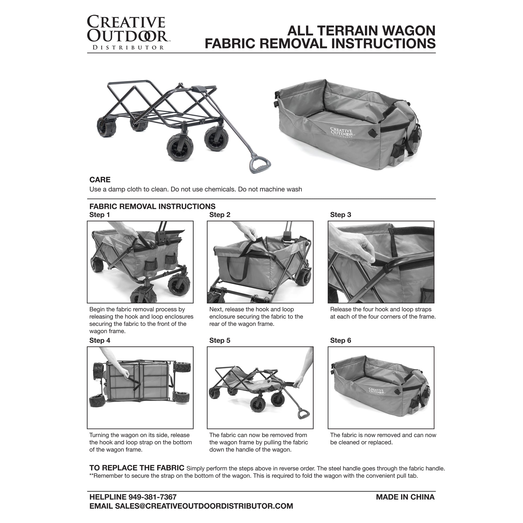 All-Terrain Folding Wagon Fabric Removal Instructions