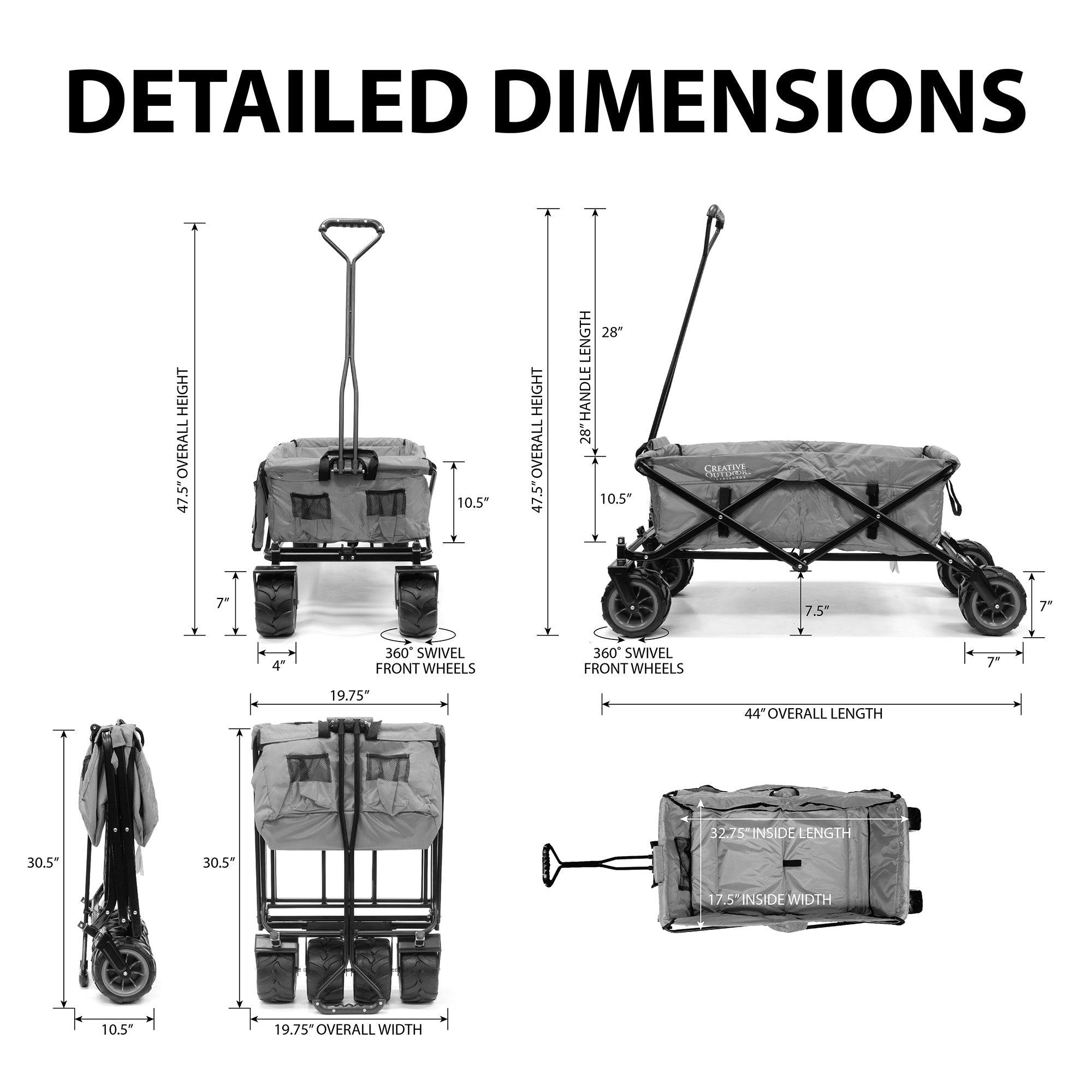 All-Terrain Paisley Folding Wagon Dimensions