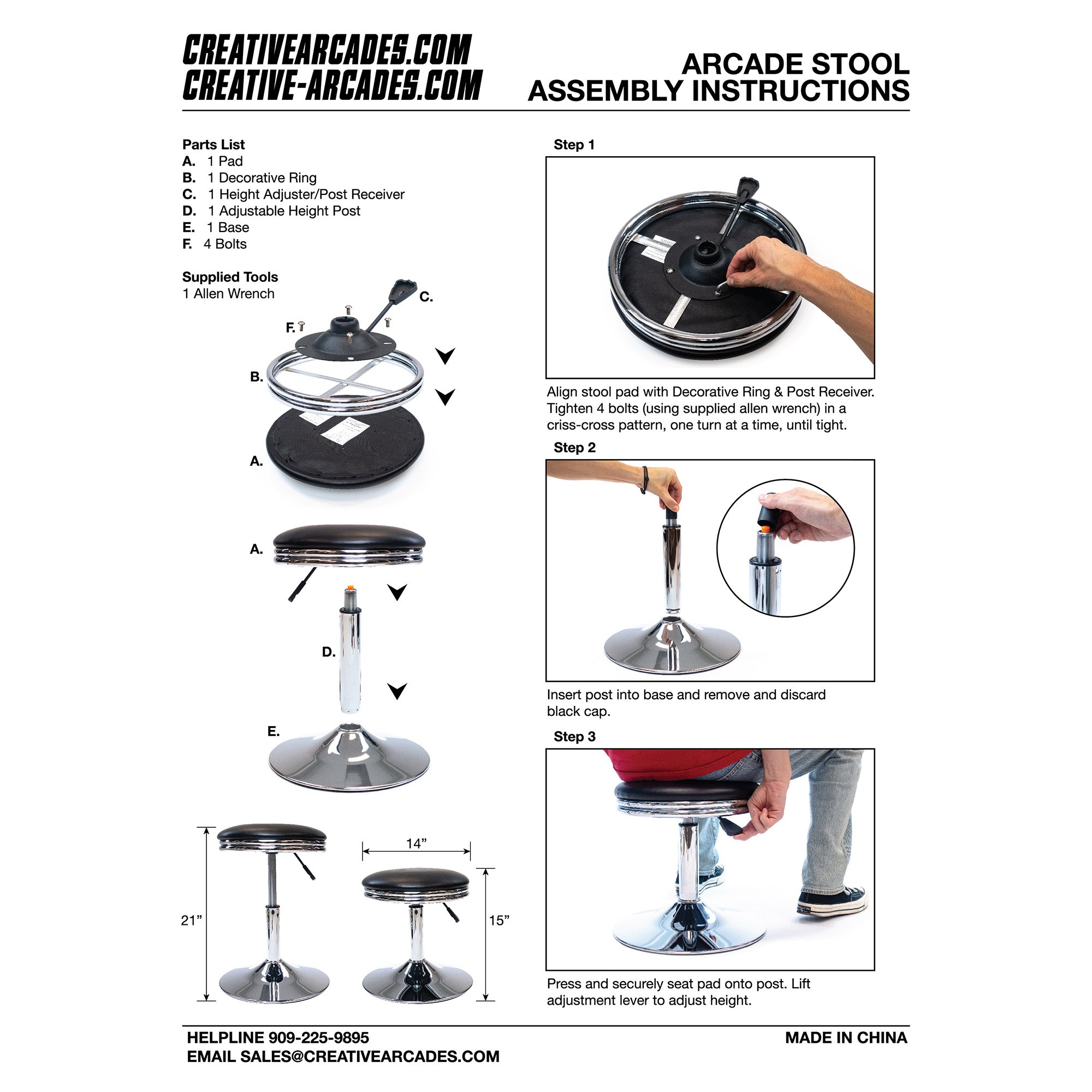 Arcade Adjustable Height Stool Assembly Instructions