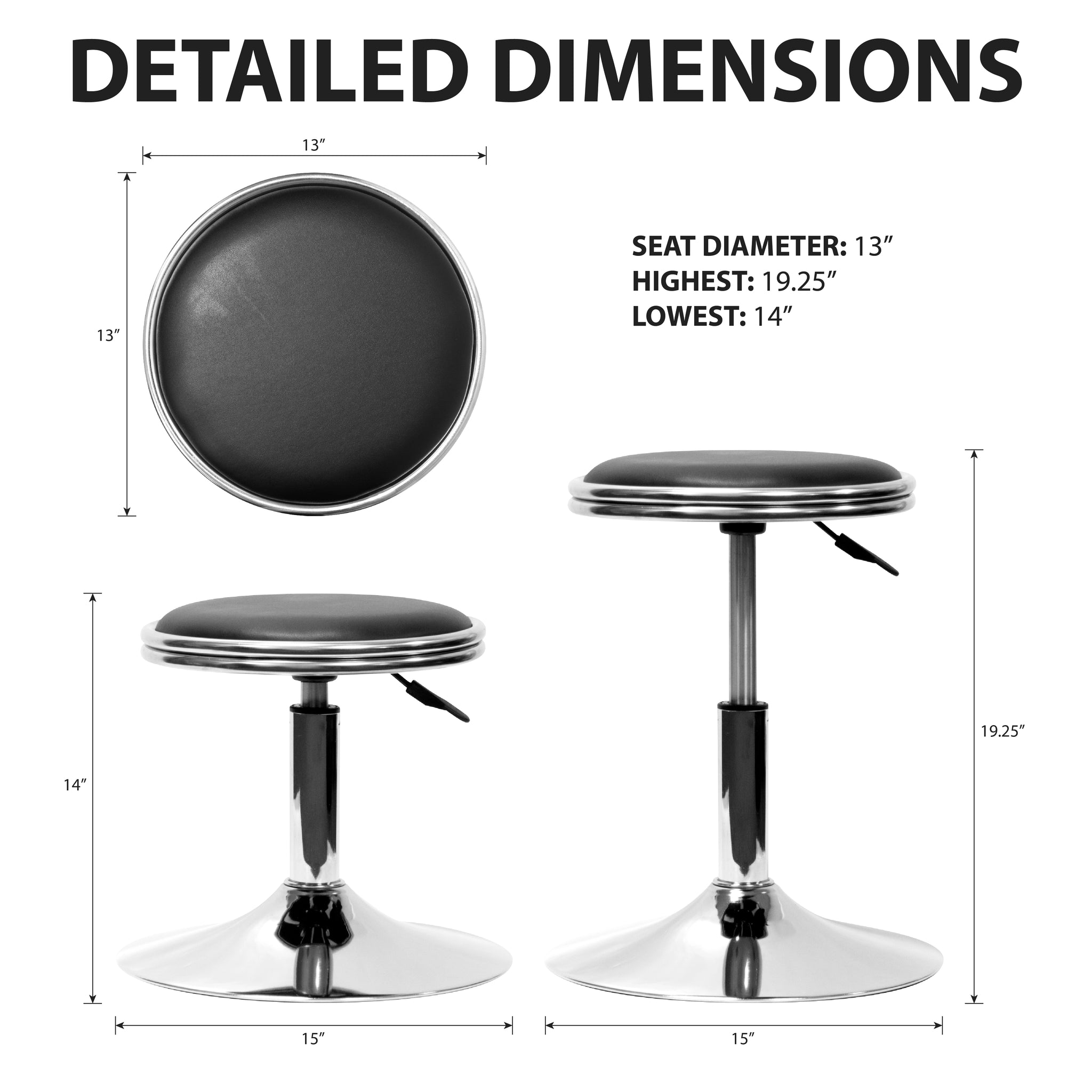 Cocktail Arcade Stools | Black Chrome | Each