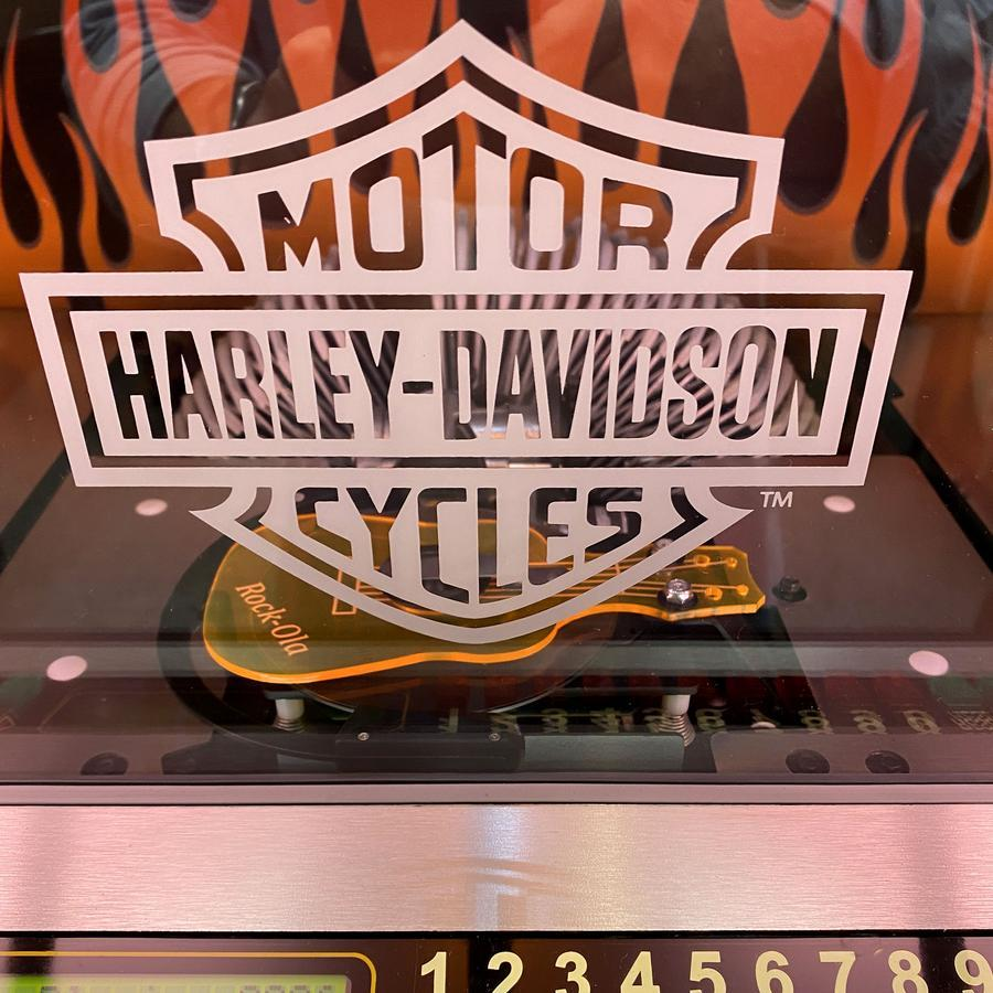 Rock-ola Bubbler Harley-Davidson Flames CD Jukebox Brushed Aluminum