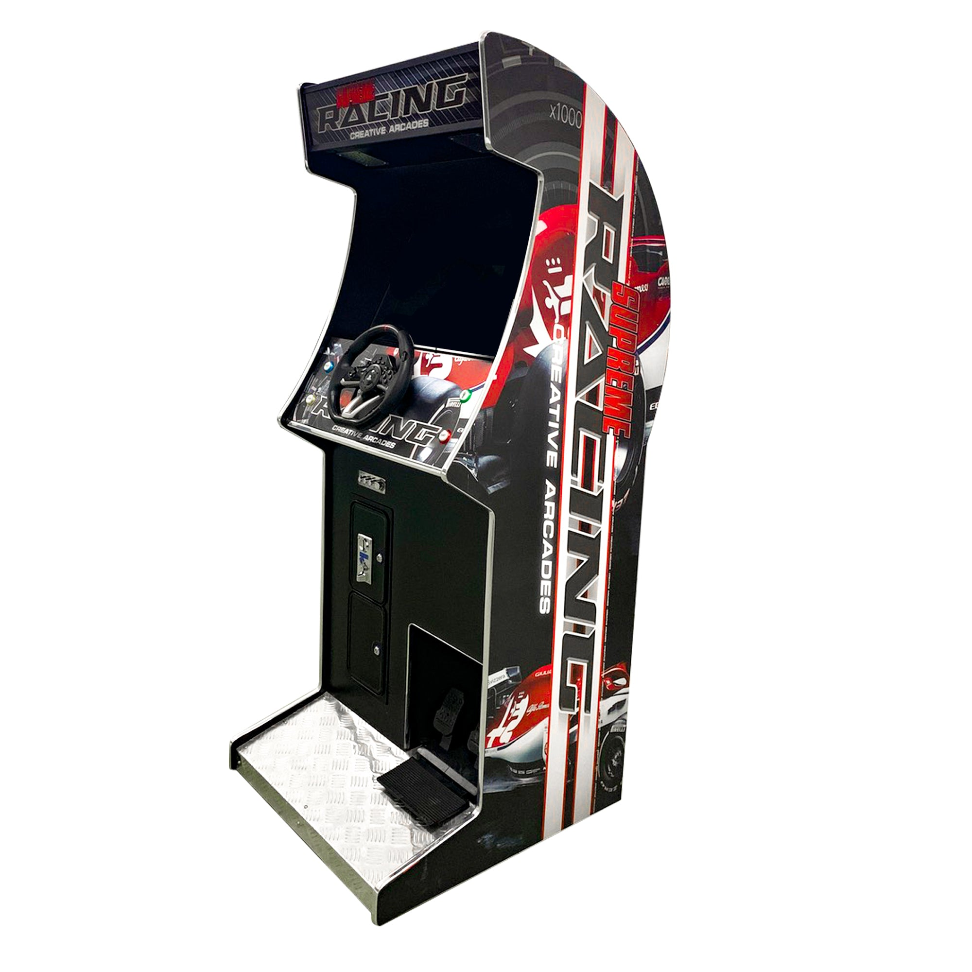 "Racing Stand-Up Arcade Machine | 129 Racing Games | 27"" LCD Monitor 