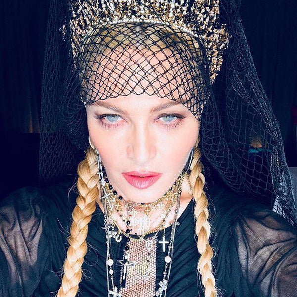 Madonna Rockin Catherine Angiel rosary necklace at the Met Gala 2018 ball