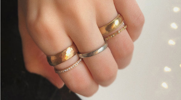 Mixing Metals with stacking bands Catherine Angiel wedding rings