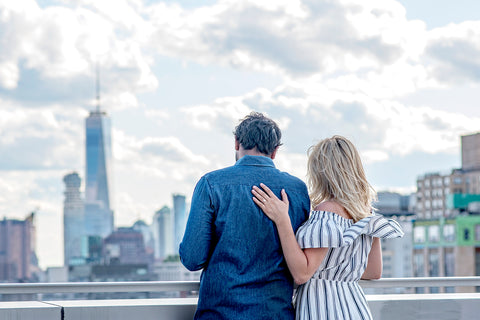 Catherine Angiel couple engaged with a view of NYC