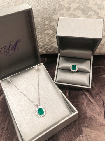 Custom Catherine Angiel Emerald Necklace and Ring Set
