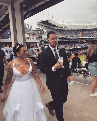 Catherine Angiel couple married at Yankee Stadium